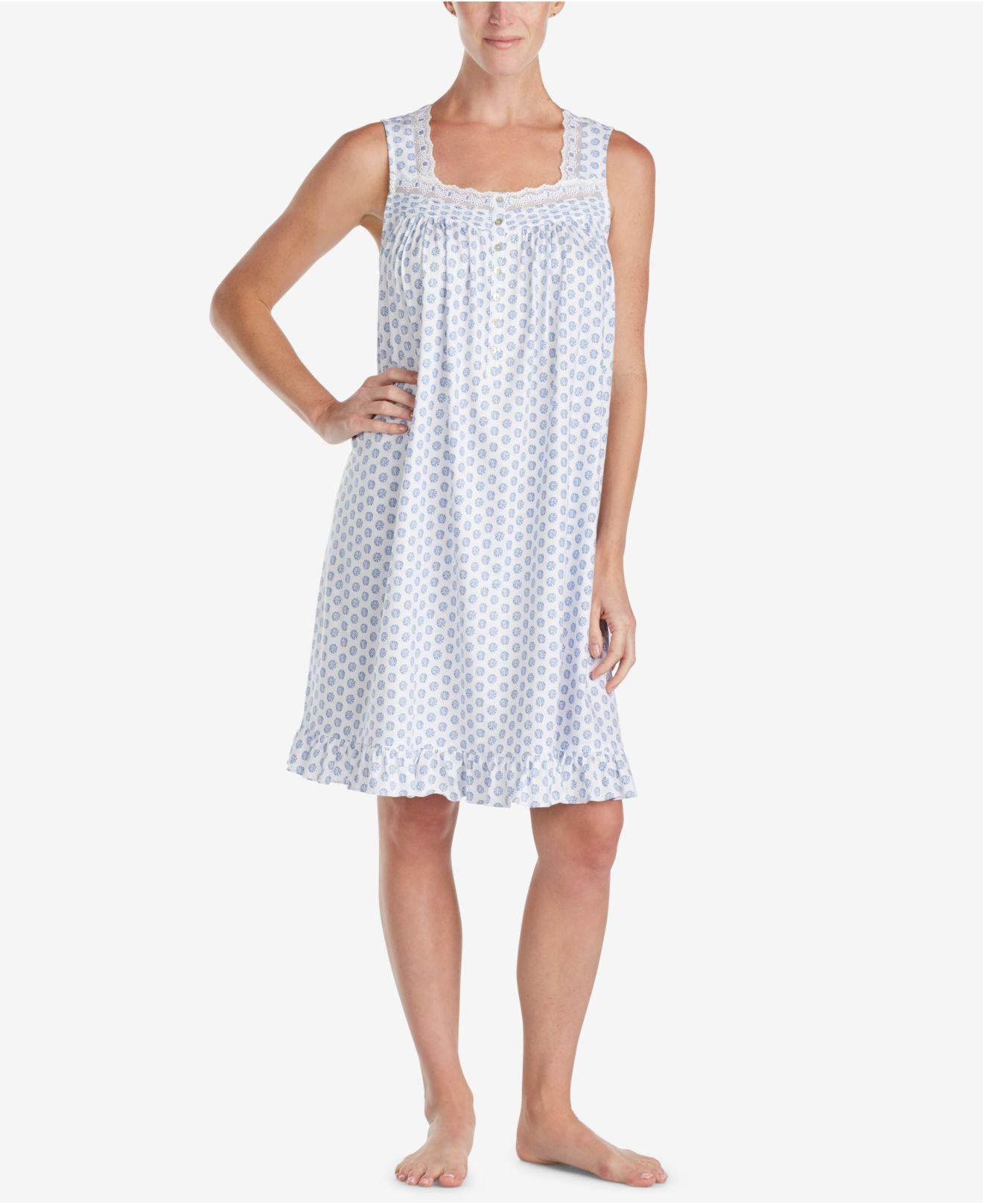 a422058cbe Eileen West. Women s Blue Cotton Printed Short Nightgown.  58  17 From  Macy s