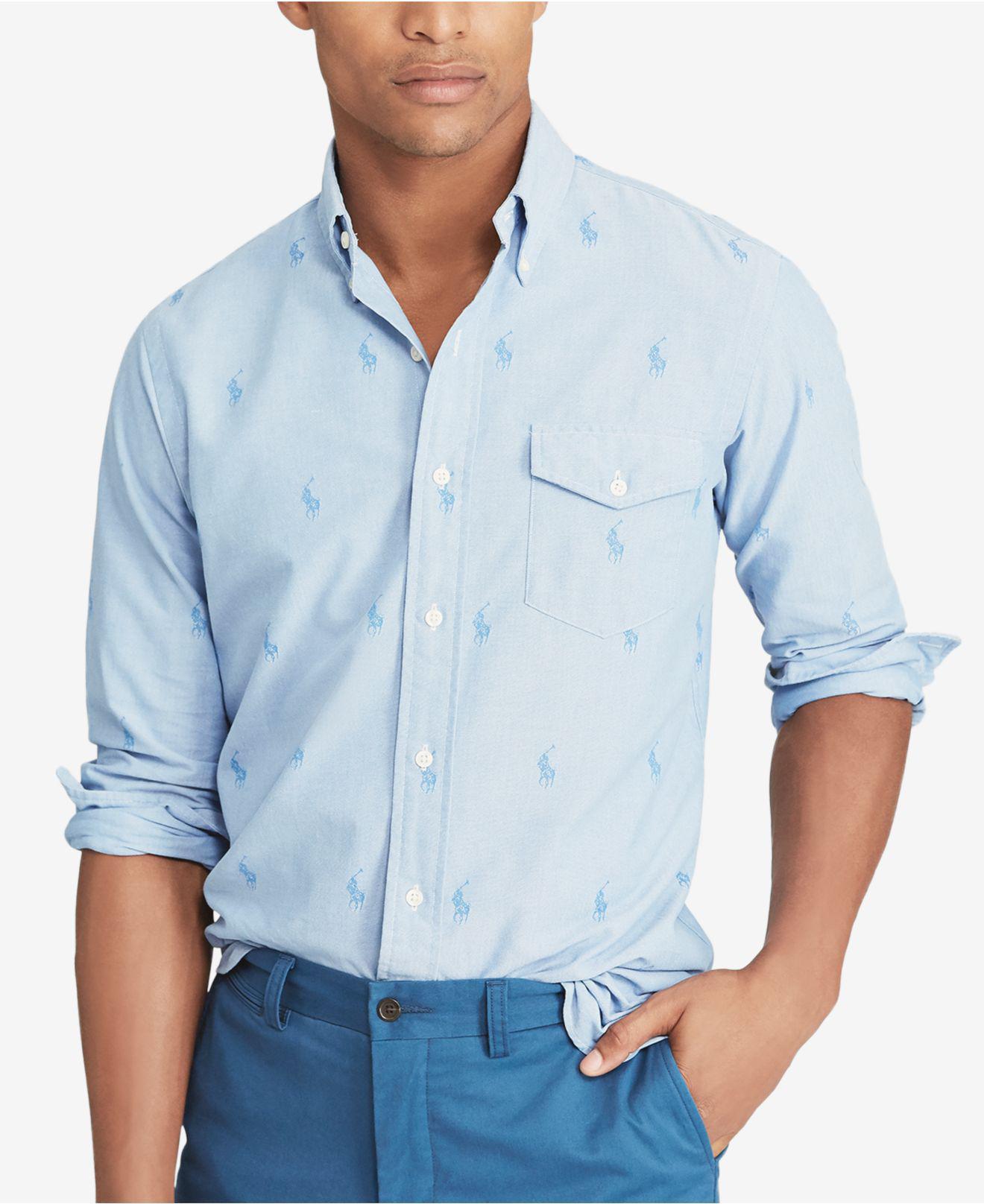 5e95e22b Polo Ralph Lauren. Men's Blue Logo-pattern Classic Fit Button-down Shirt