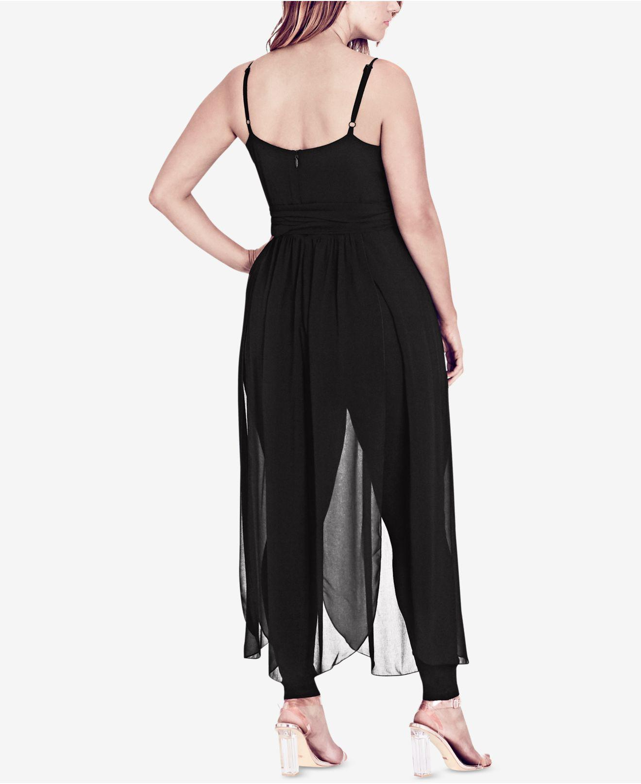 a935d7397354 City Chic Trendy Plus Size Sheer-skirt Jumpsuit in Black - Lyst