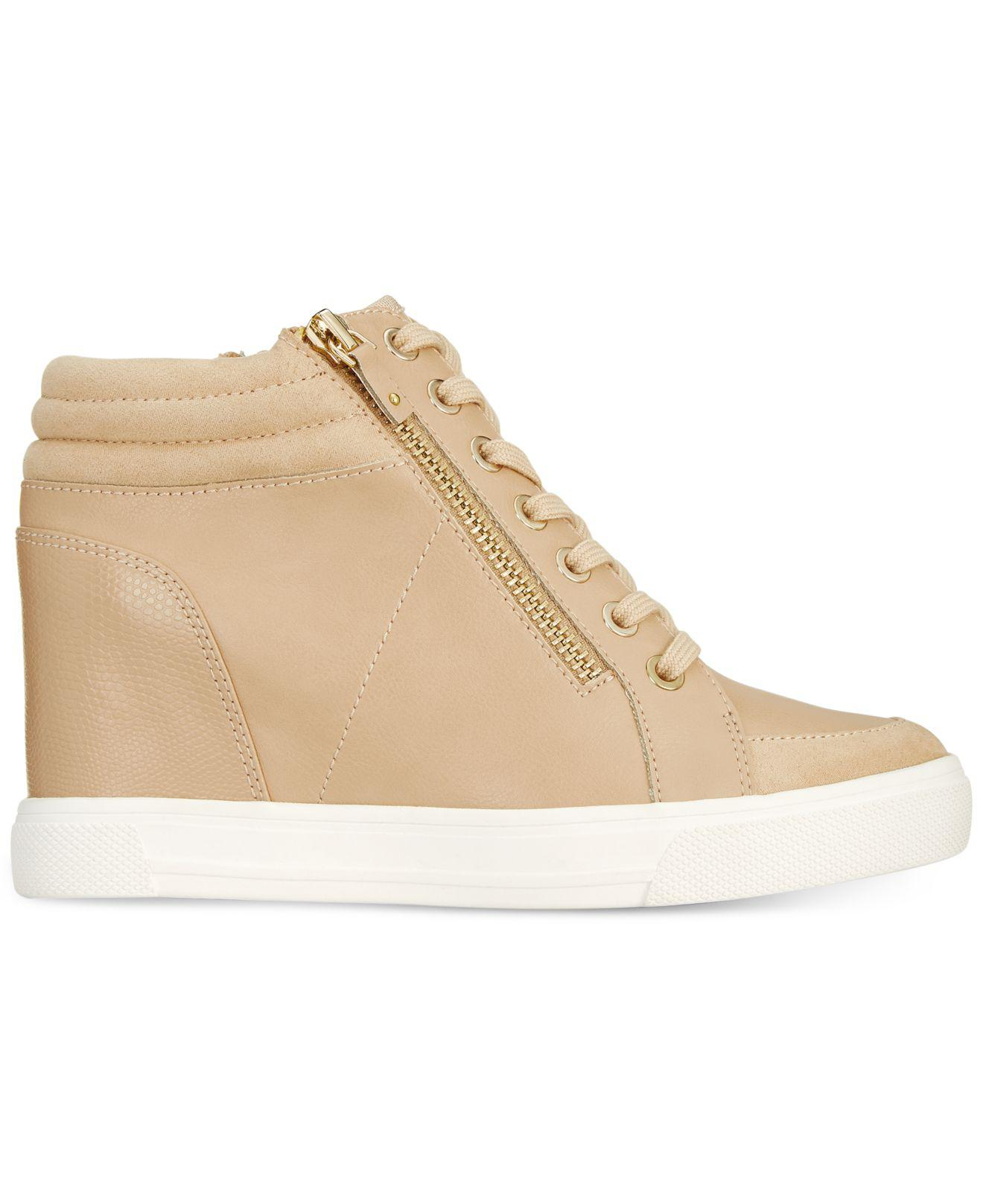 5ae684d564a5 Lyst - ALDO Kaia Lace-up Wedge Sneakers in Natural