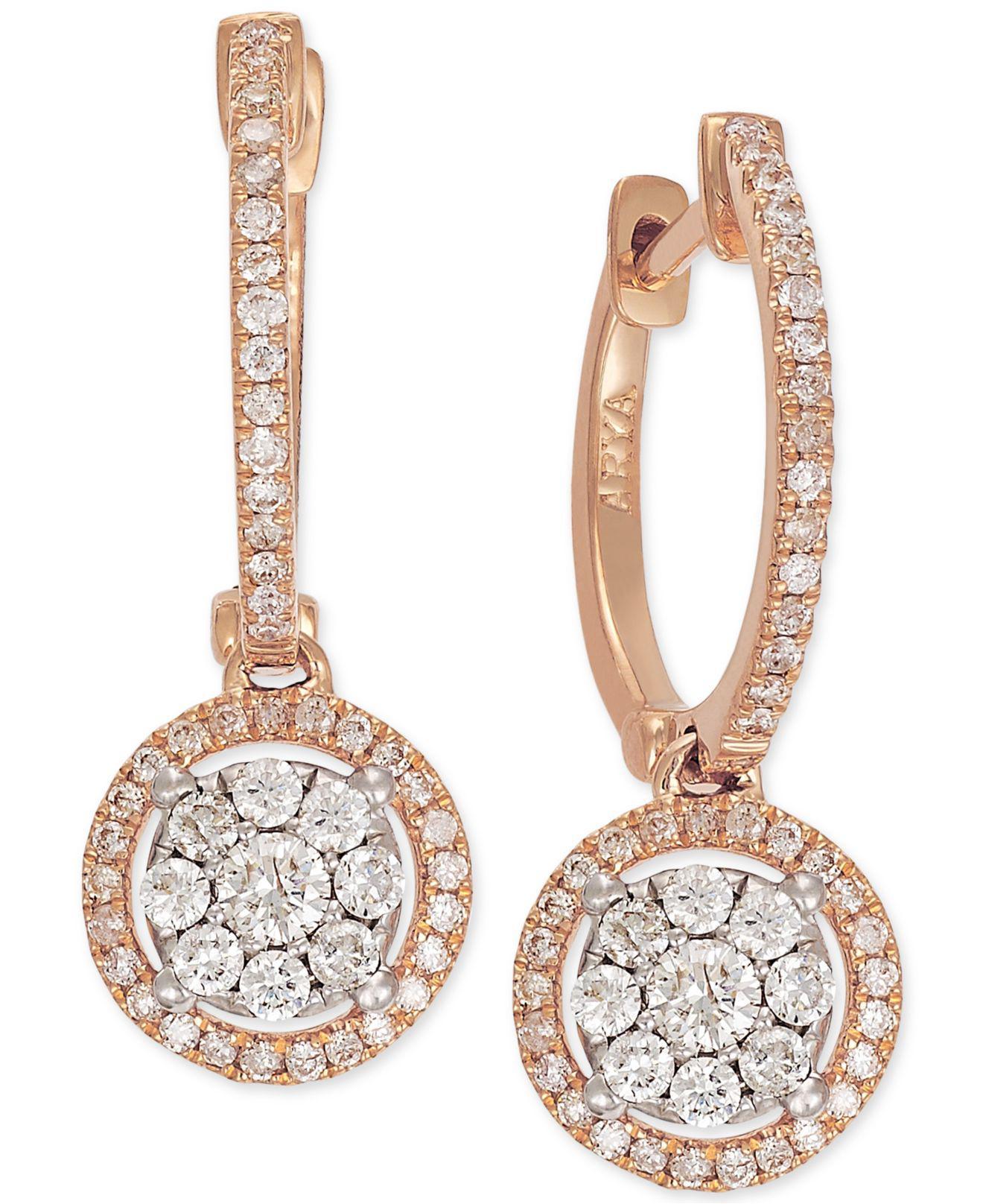 Lyst - Macy's Diamond Circle Drop Earrings In 14k Rose Gold (5/8 Ct. T.w.) in Metallic