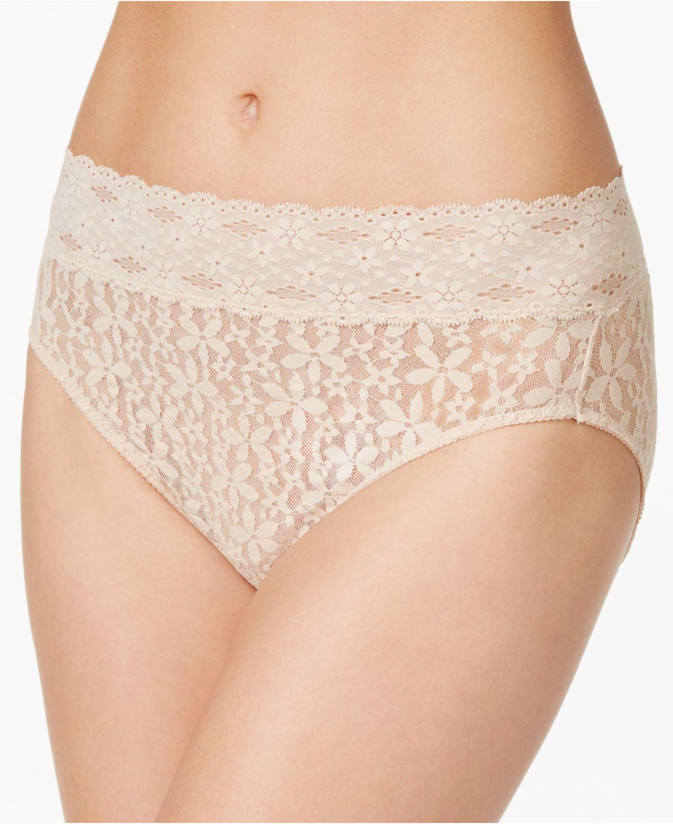 18c49bbba076 Lyst - Wacoal Halo Sheer Lace Hi Cut Brief 870305 in Natural