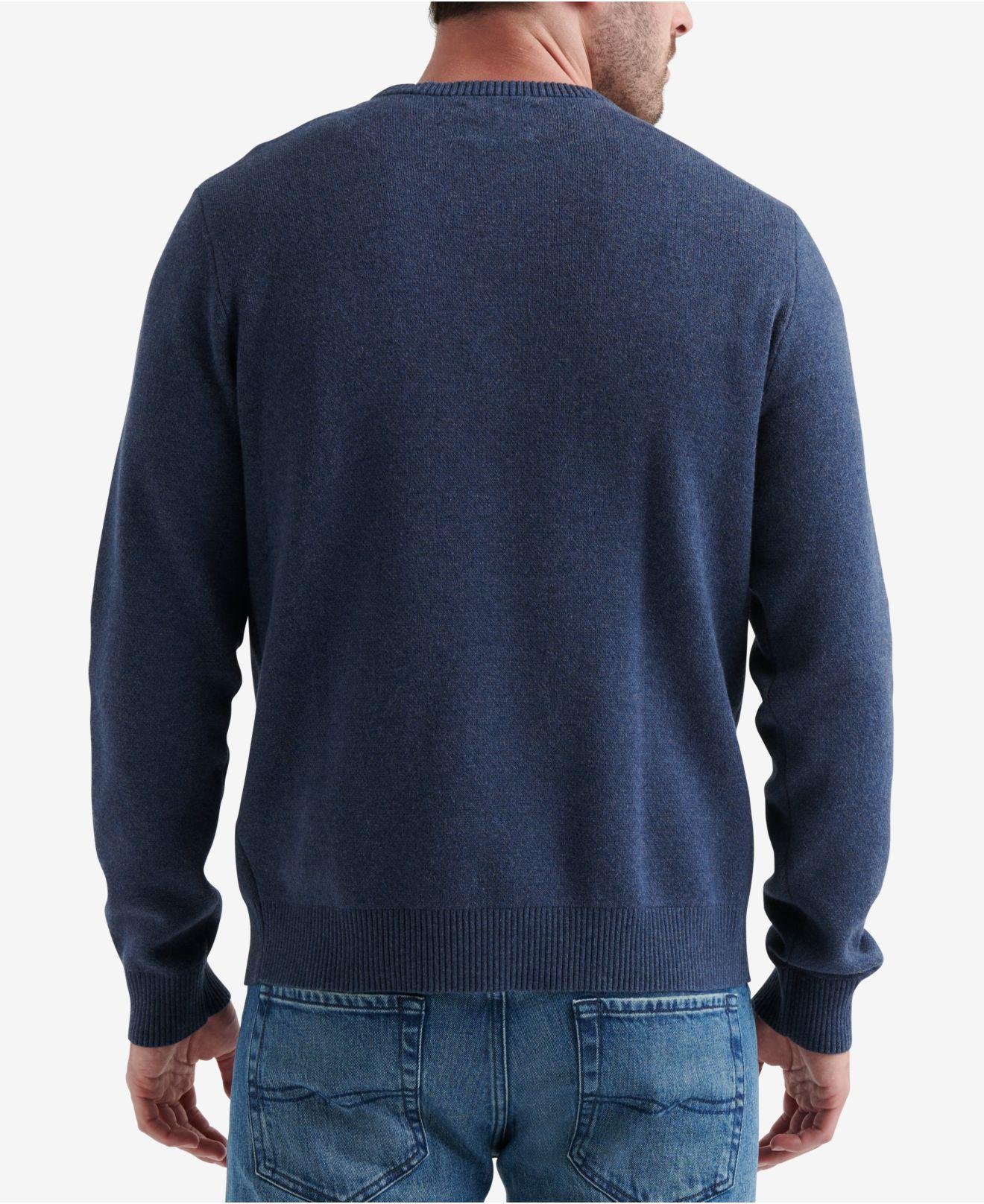 Lyst lucky brand fender graphic sweater in blue for men save 68