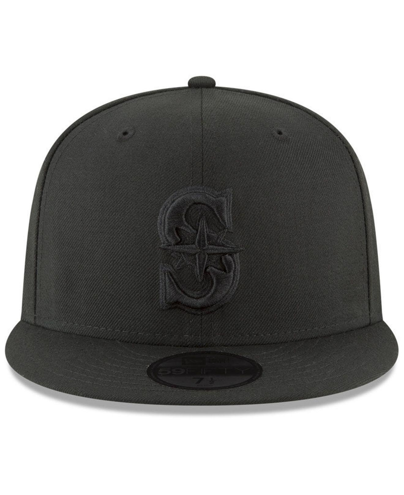 new products da5a7 da3af Lyst - KTZ Seattle Mariners Blackout 59fifty Fitted Cap in Black for Men
