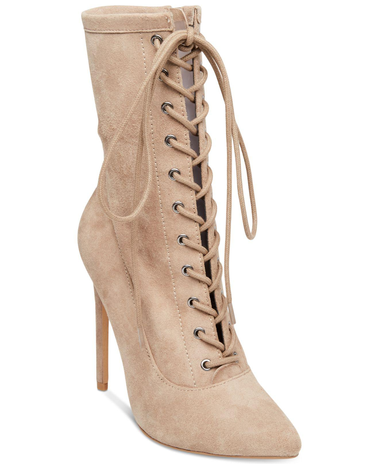 db7376fe04b Lyst - Steve Madden Women s Satisfied Lace-up Stiletto Booties in ...