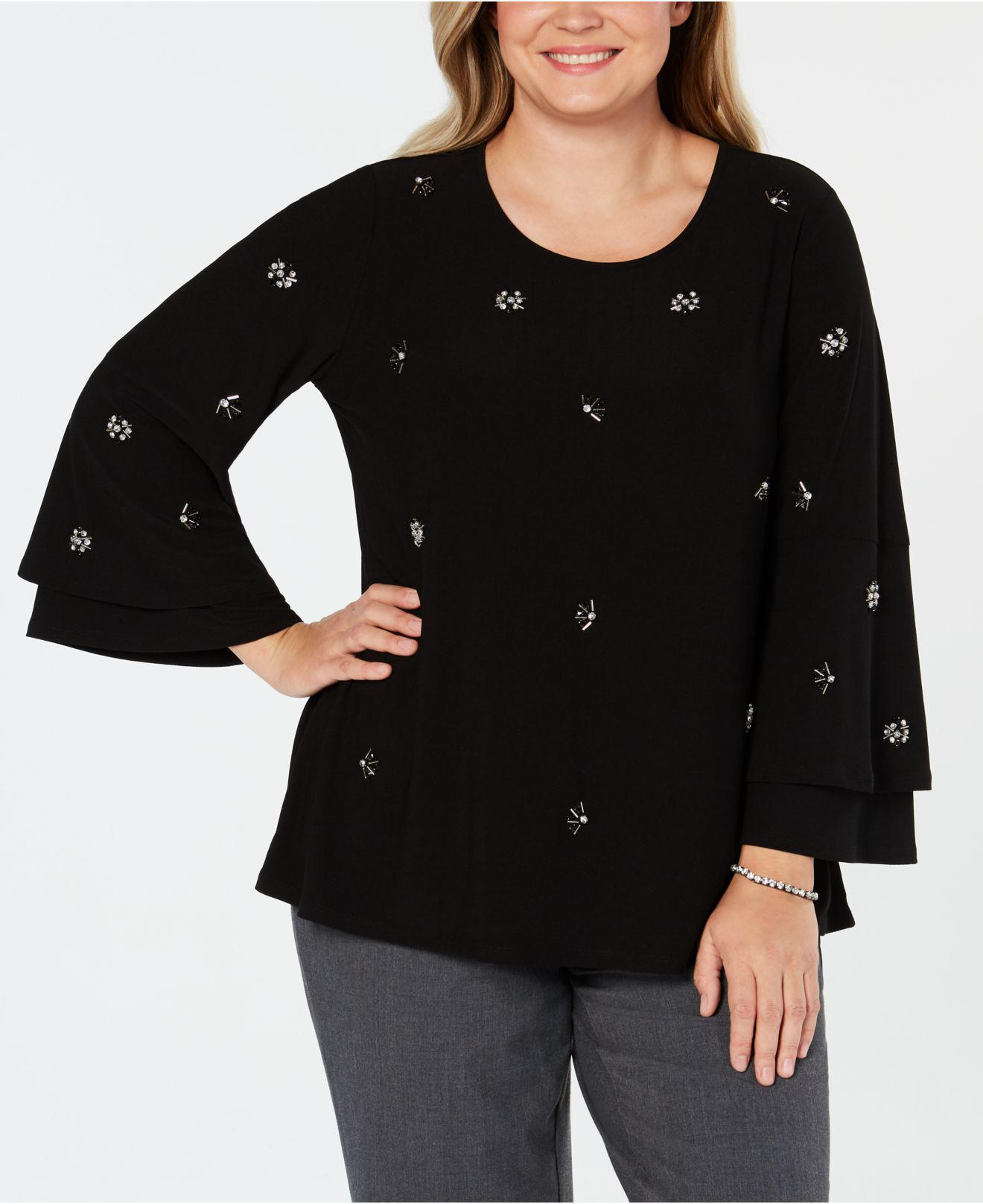 07e986c9bdf Lyst - Alfani Plus Size Embellished Bell-sleeve Top