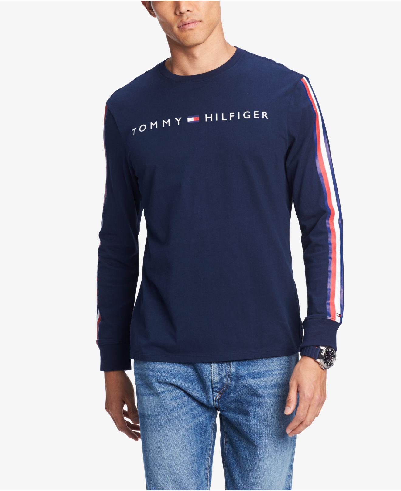 29809e1aa952b5 Tommy Hilfiger. Men s Blue Knox Stripe-sleeve Logo Graphic T-shirt