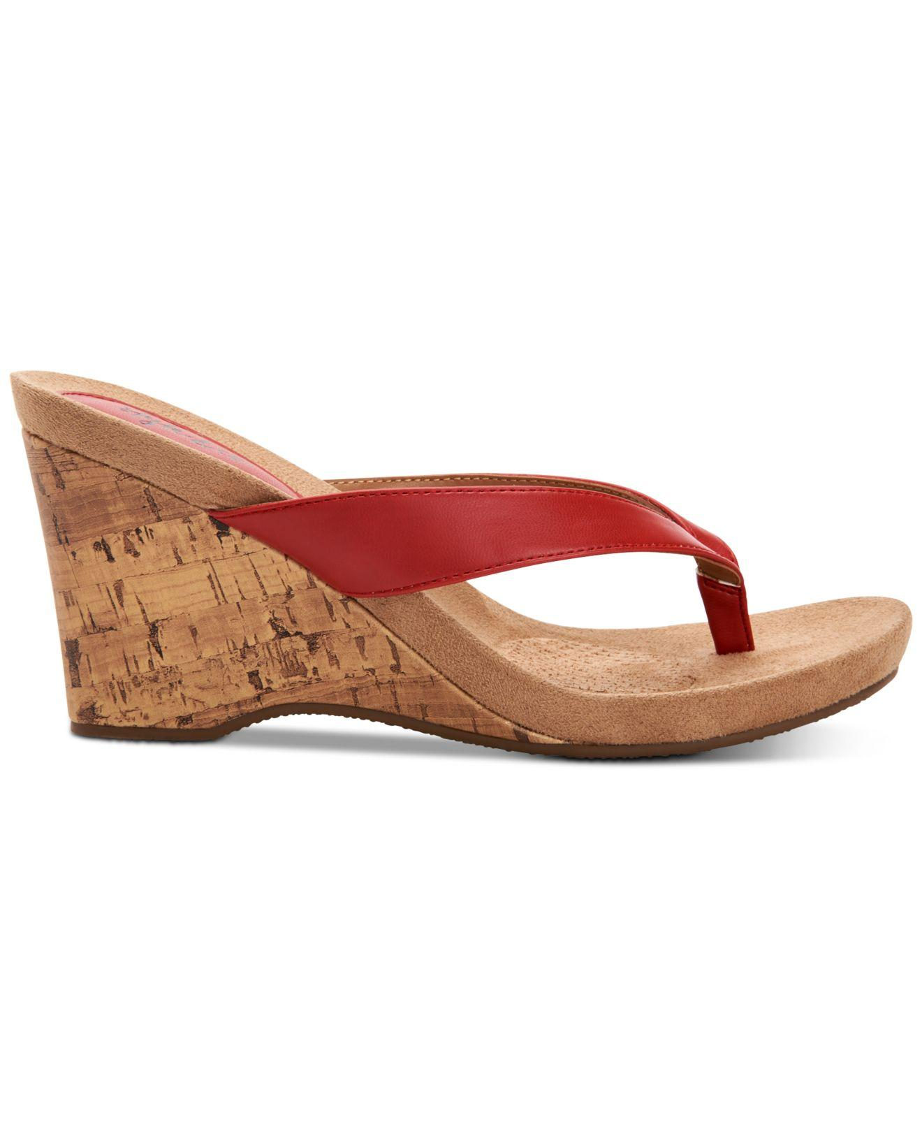 d0d0a6a1a44 Lyst - Style   Co. Chicklet Wedge Thong Sandals