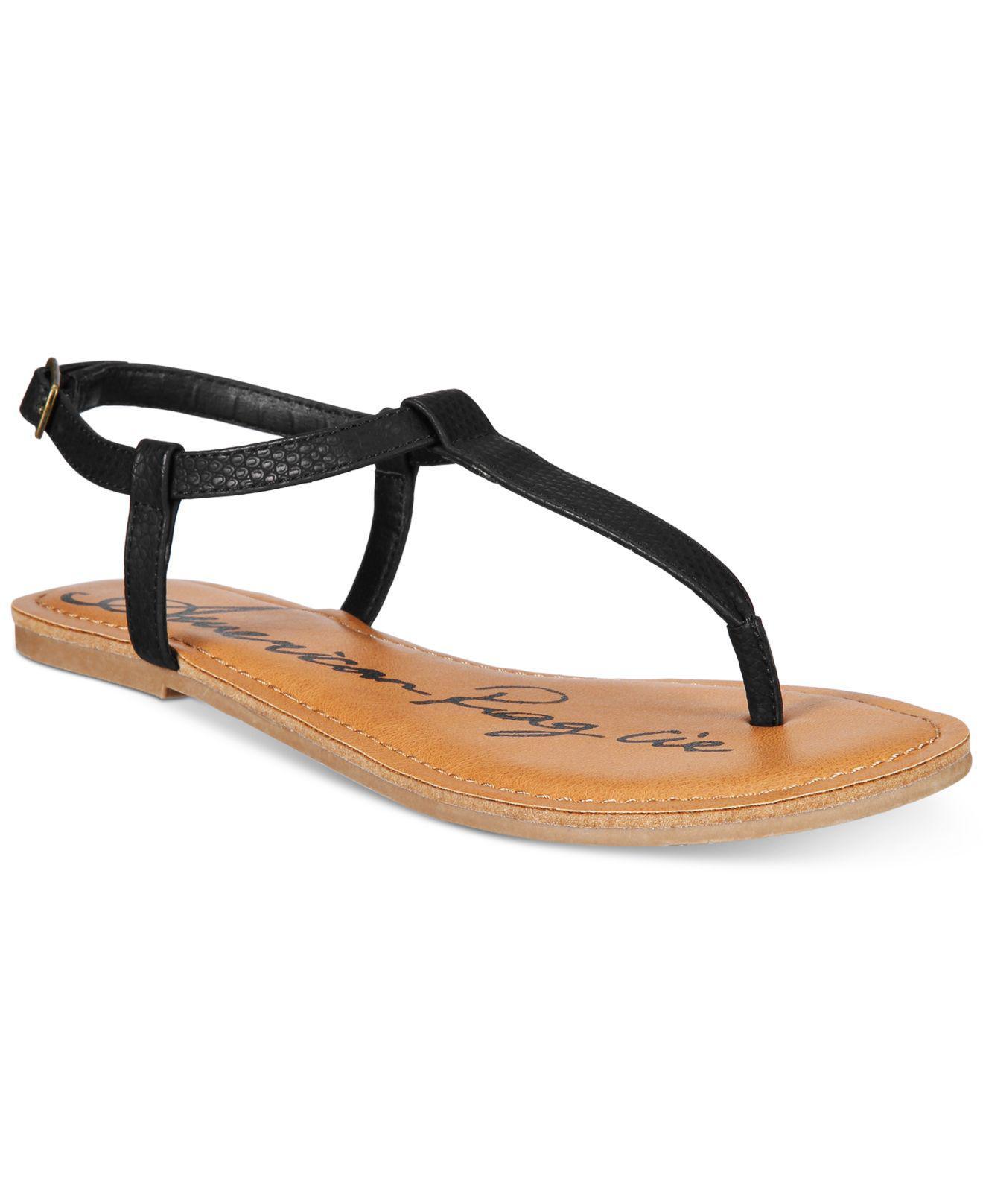 95b66333a9154 Lyst - American Rag Krista T-strap Flat Sandals in Brown