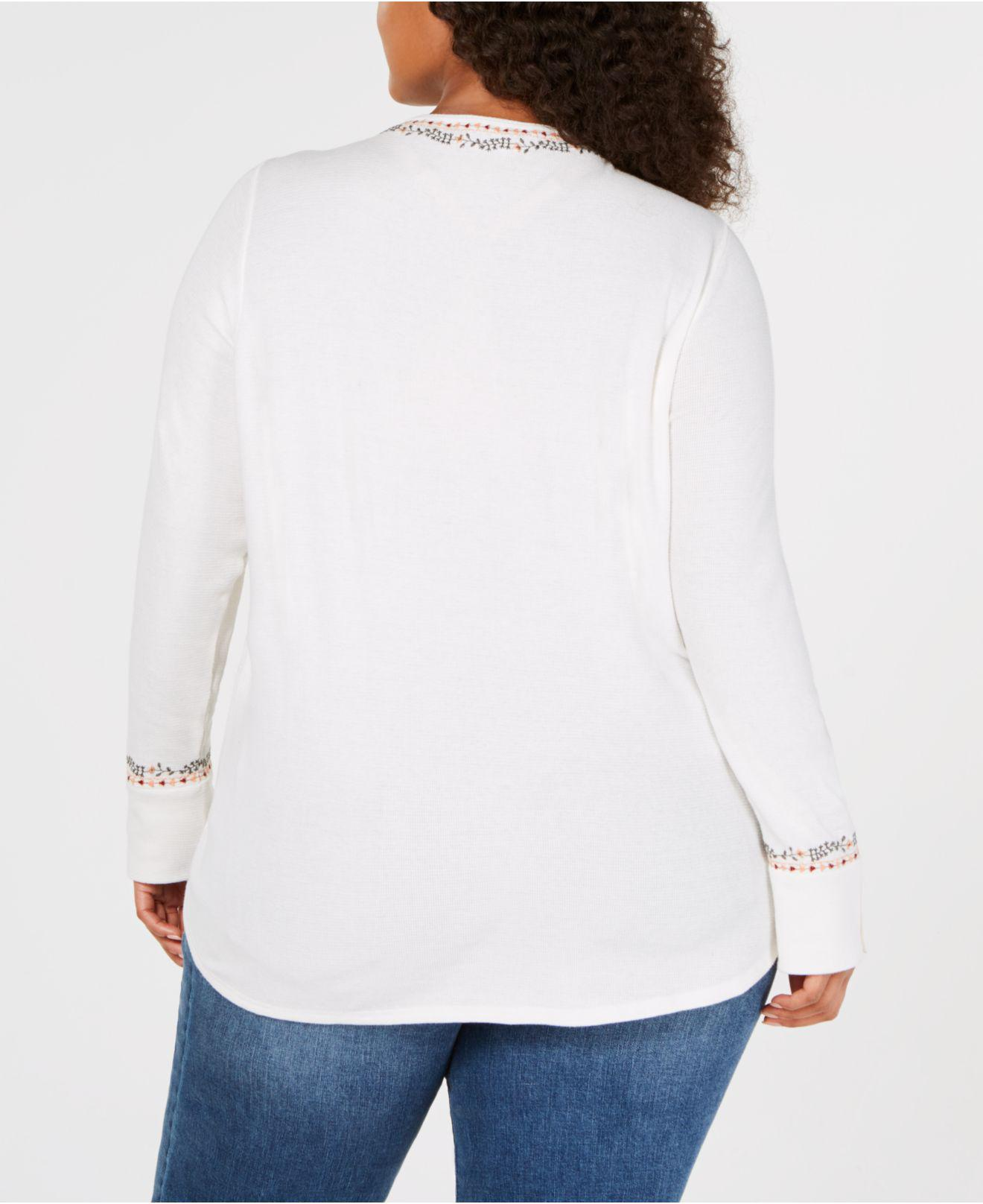 eb81f09fa9057 Lyst - Lucky Brand Trendy Plus Size Cotton Embroidered Henley Top in White