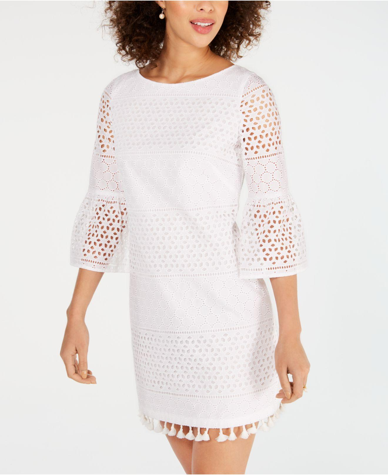 d4300c87e03 Vince Camuto - White Cotton Long-sleeve Eyelet Shift Dress - Lyst. View  fullscreen