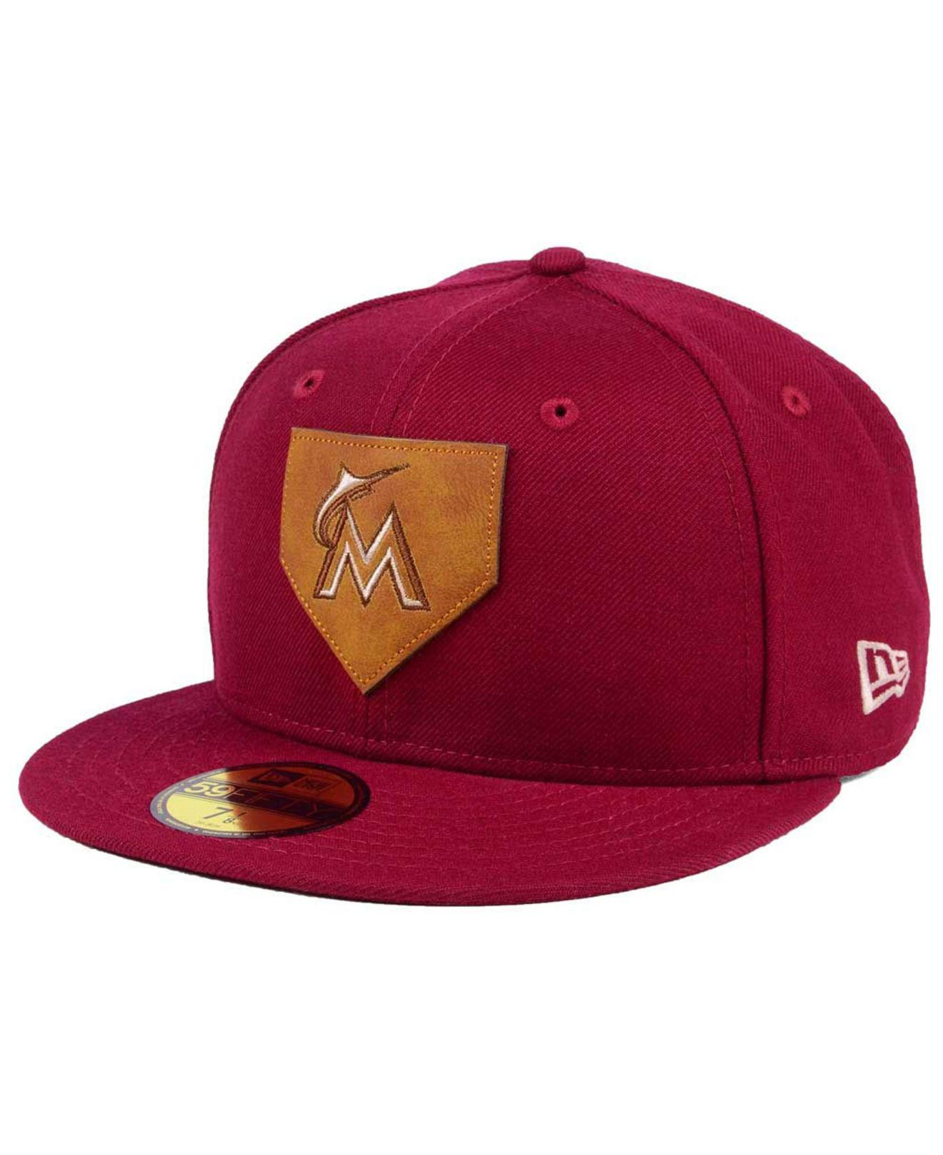 d226201a0b8 Lyst - KTZ Miami Marlins The Logo Of Leather 59fifty Fitted Cap in ...