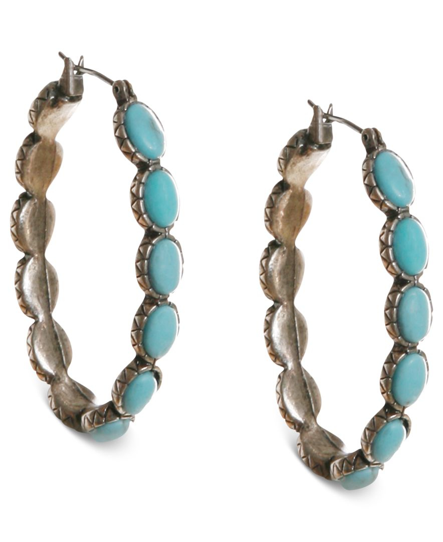 Lucky brand earrings reconstituted turquoise hoop for Macy s lucky brand jewelry