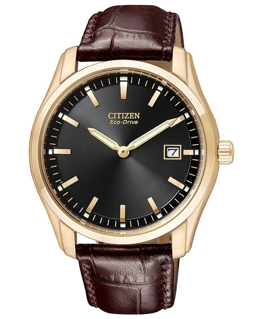 Citizen men 39 s eco drive brown leather strap watch 40mm au1043 00e in metallic for men lyst for Watches 40mm