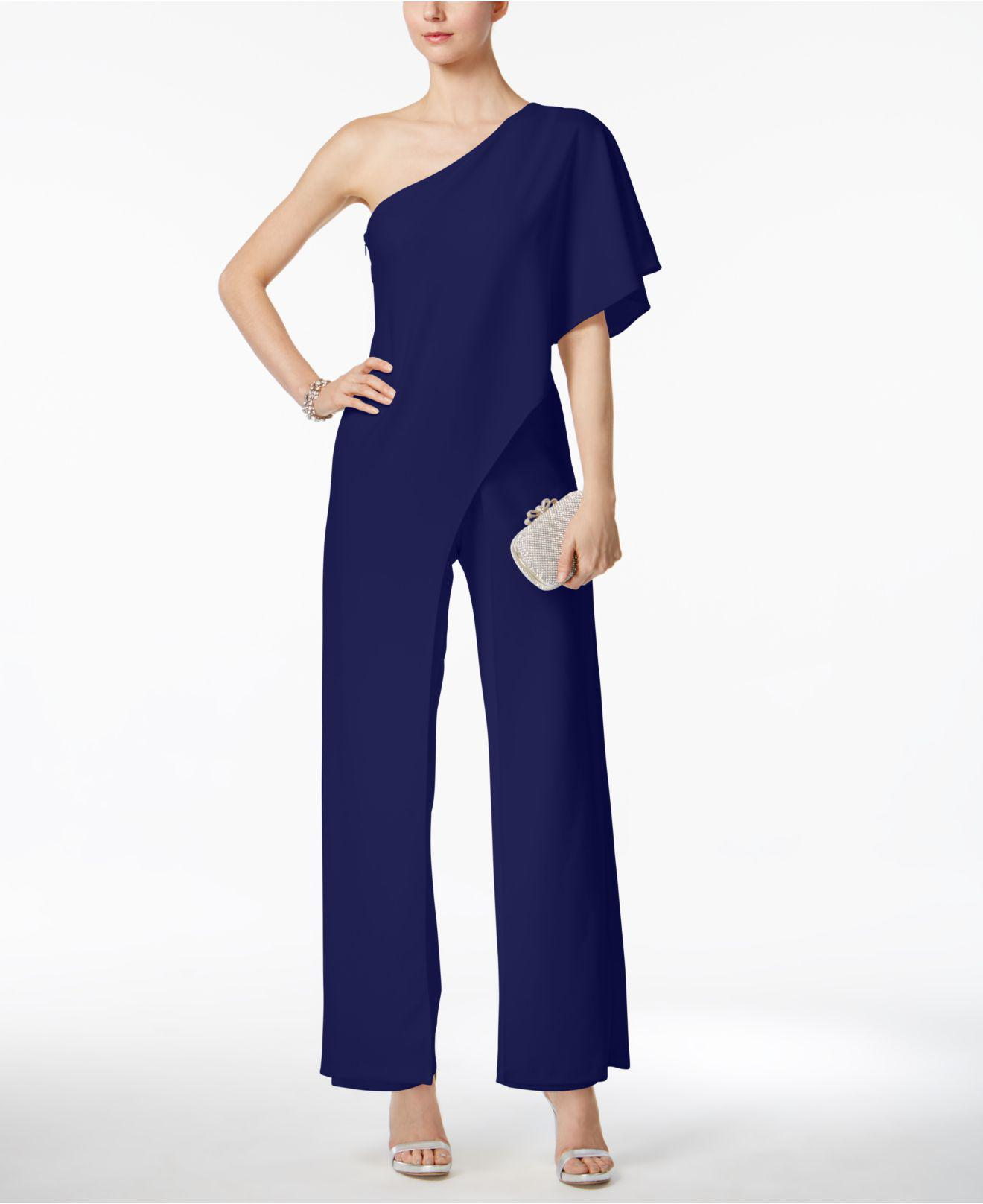 c97e4bcfcb8 Adrianna Papell Draped One-shoulder Jumpsuit in Blue - Lyst