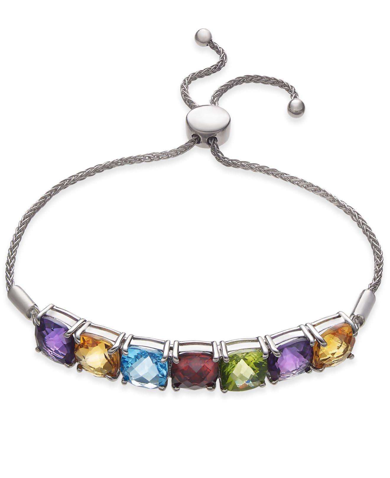 41b24dc6a56 Lyst - Macy's Multi-gemstone (11 Ct. T.w.) Bolo Bracelet In Sterling ...