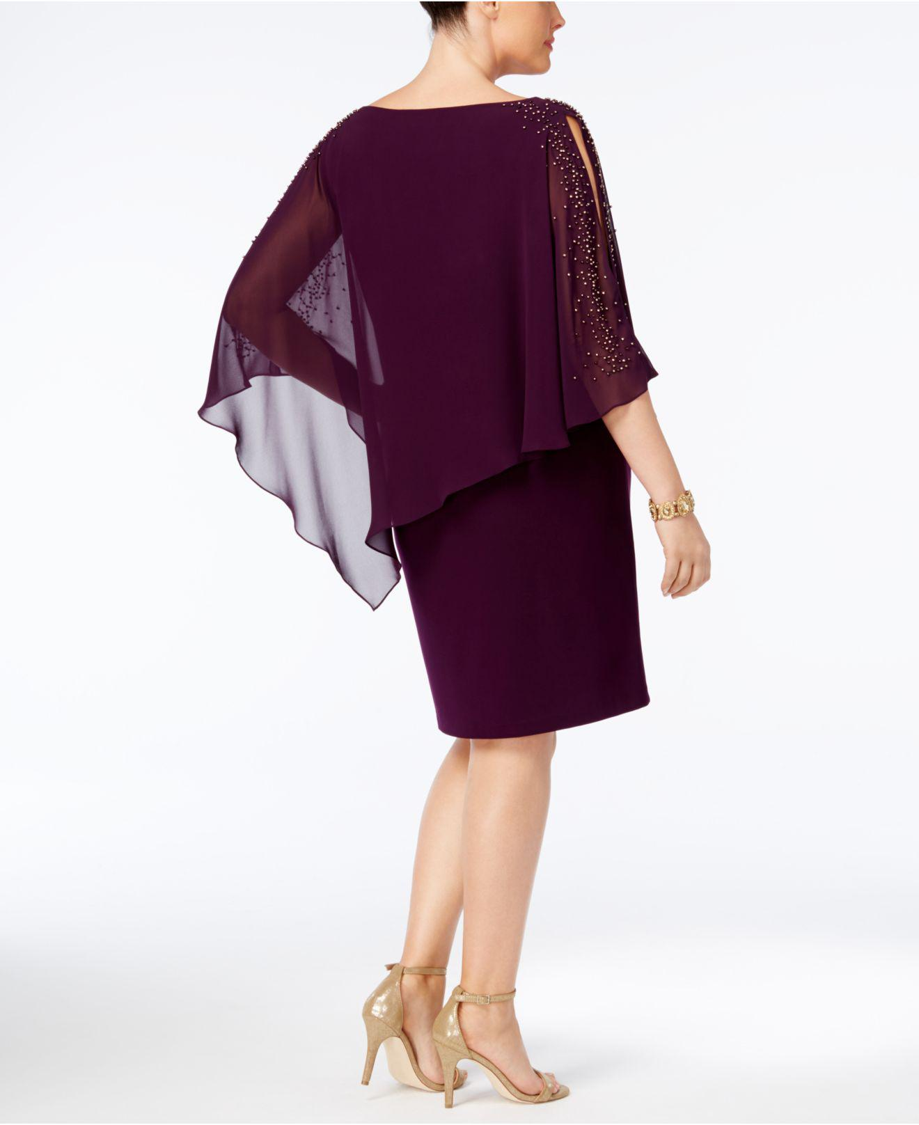fc2f8efda976 Xscape Plus Size Beaded Chiffon Popover Dress in Purple - Lyst