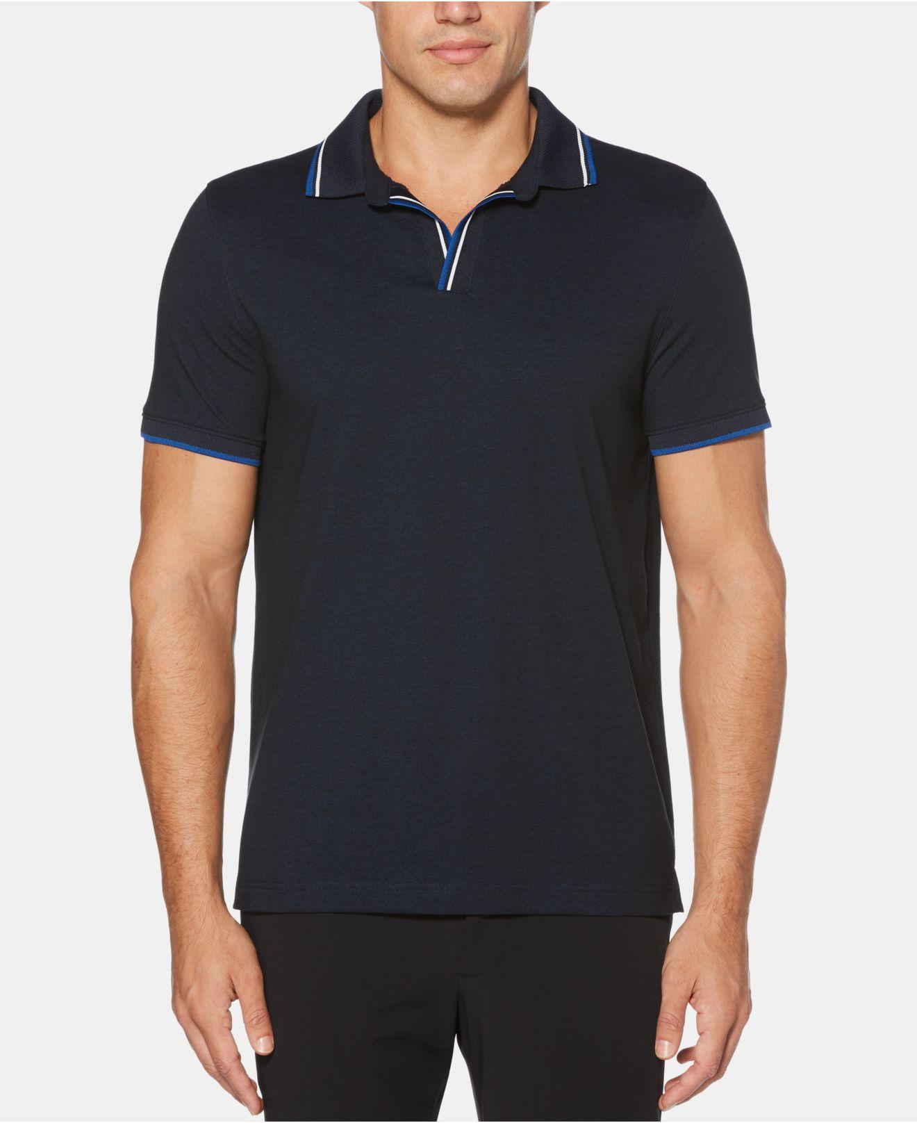 b4f2c87bfe Lyst - Perry Ellis Tipped Buttonless Polo in Blue for Men