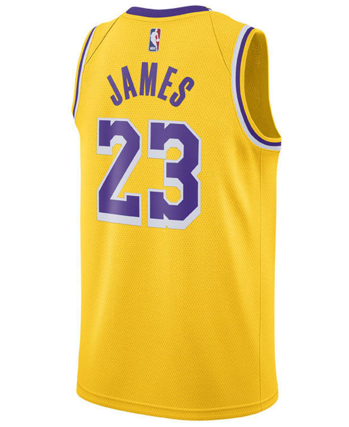 Lyst - Nike Lebron James Los Angeles Lakers Icon Swingman Jersey in Yellow  for Men e9c8af8e6