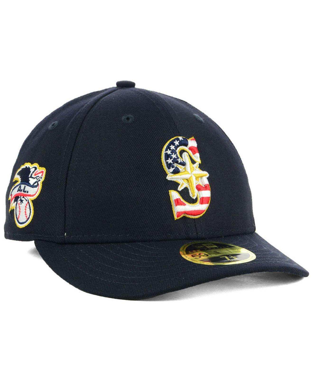 best authentic 440b5 b02f4 KTZ. Men s Blue Seattle Mariners Stars And Stripes Low Profile 59fifty  Fitted Cap 2018