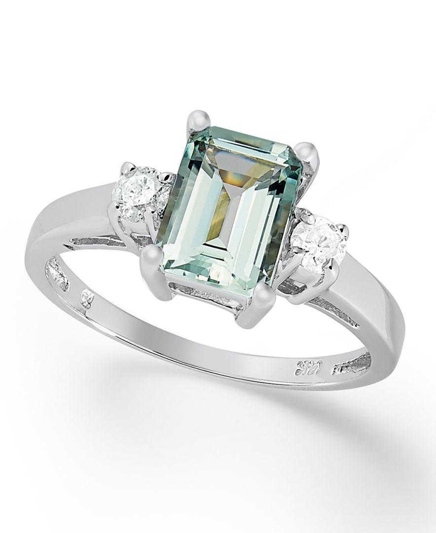 Macy's 14k White Gold Ring, Aquamarine (1-5/8 Ct. T.w