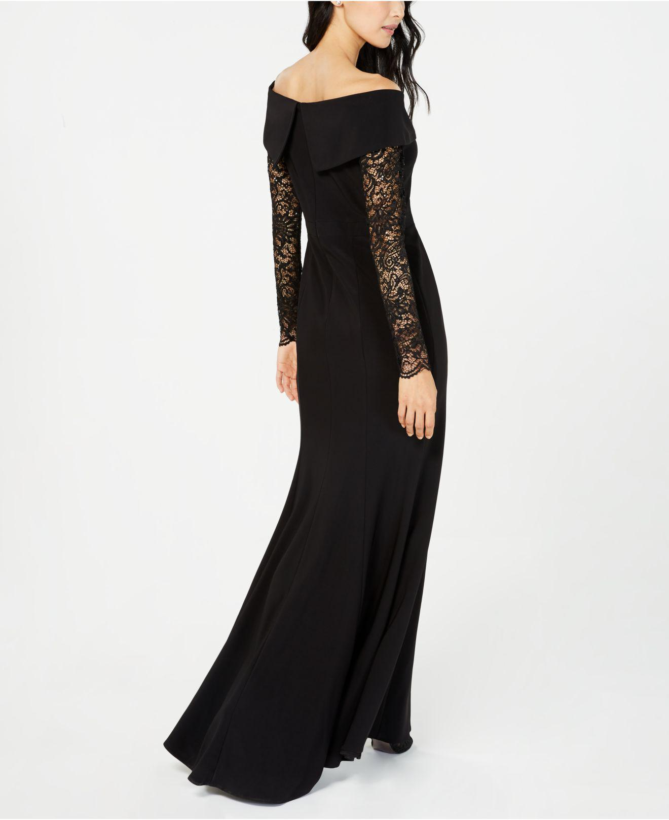 ... 518b5 d74cb Lyst - Xscape Petite Off-the-shoulder Lace-sleeve Gown in  ... 59d0cd84a1e8