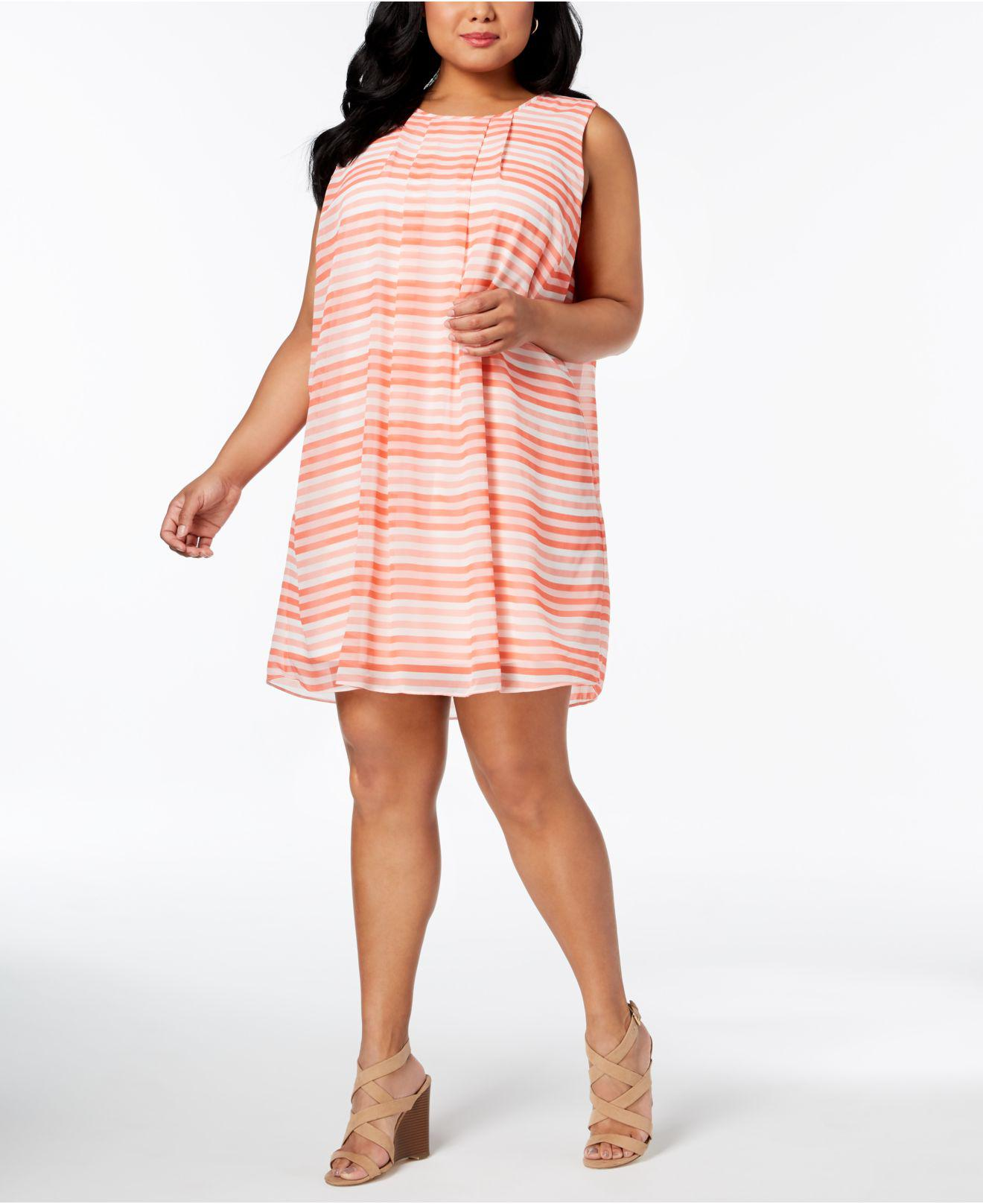 2bf0479a6c21e Lyst - Calvin Klein Plus Size Printed Pleated-neck Trapeze Dress in Pink
