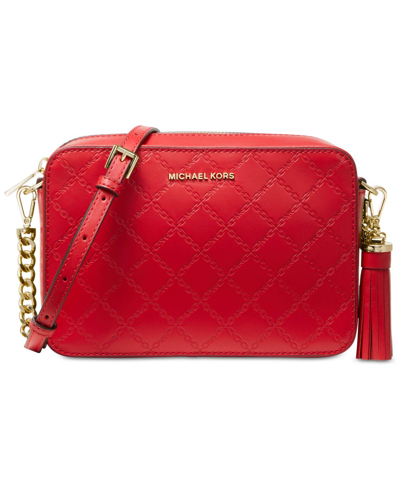 0702e7a985c4 MICHAEL Michael Kors Medium Leather Crossbody Camera Bag in Red - Lyst