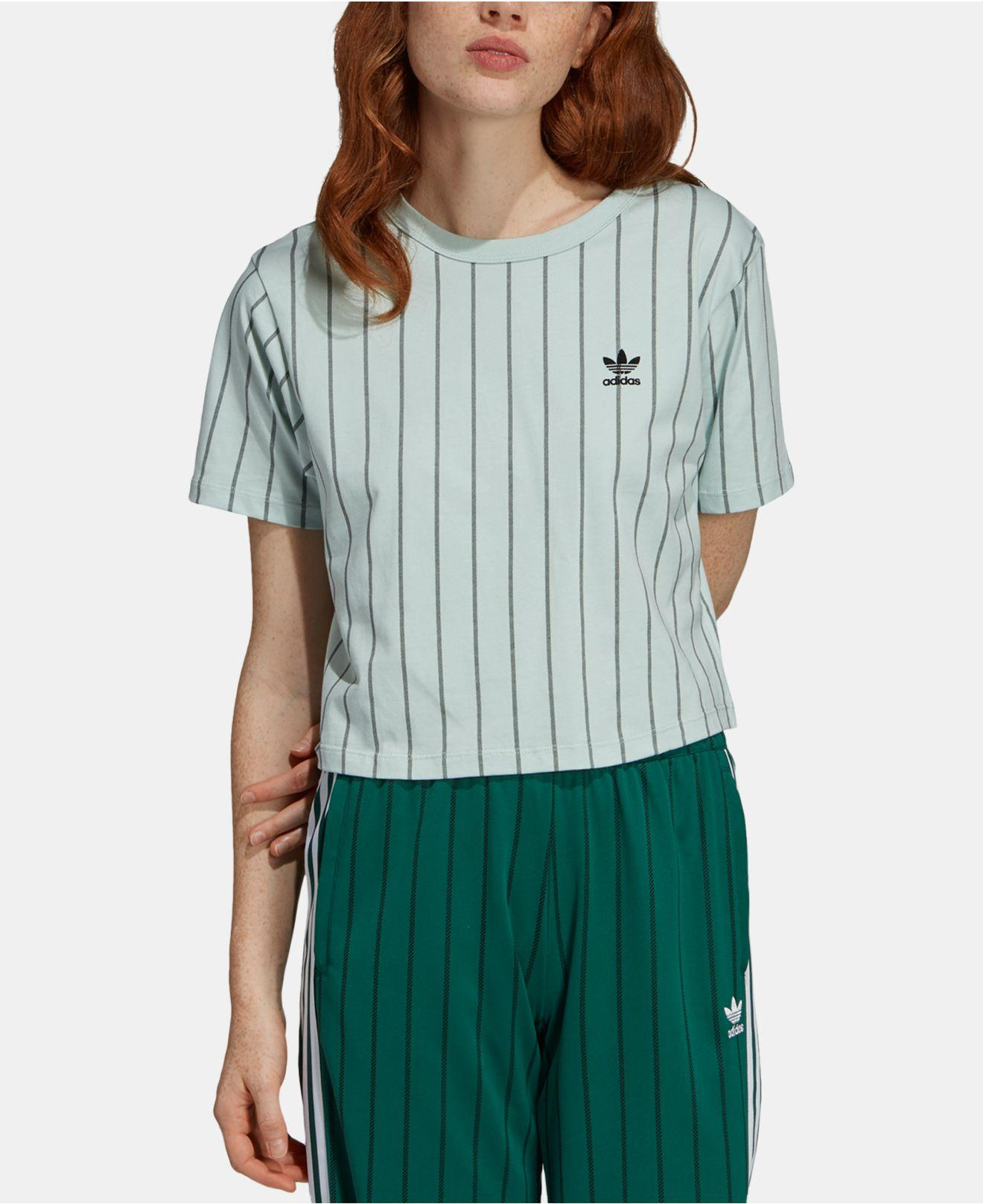 16fea0d919902 Adidas - Green Originals Stripe Out Cotton Cropped T-shirt - Lyst. View  fullscreen