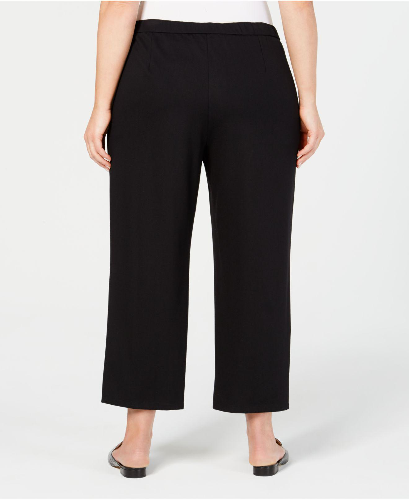 d7a11066a14 Lyst - Eileen Fisher Plus Size Ponte Drawstring-waist Ankle Pants in Black