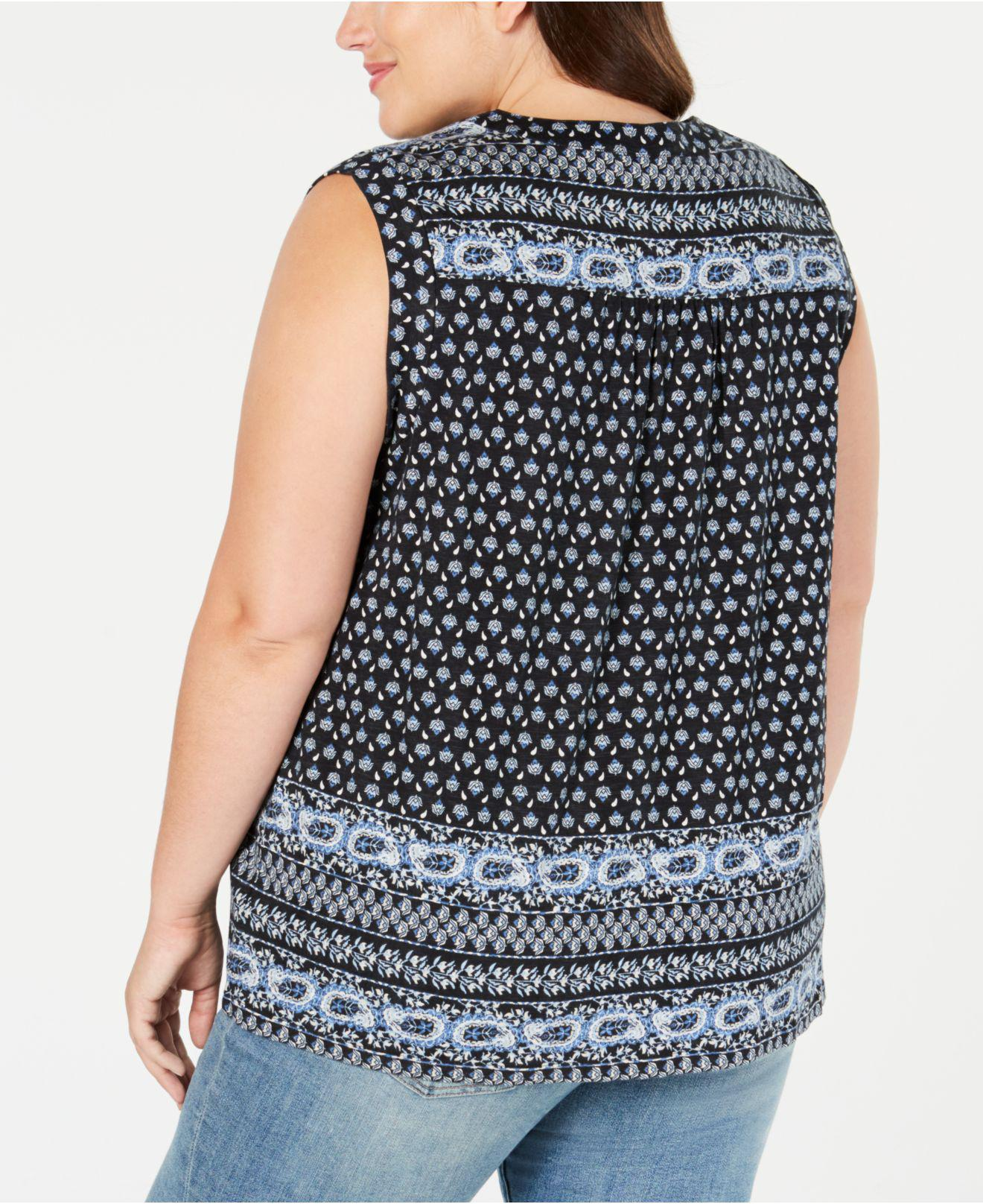 10a4f8b6695bb Lyst - Style   Co. Plus Size Printed Lace-up Sleeveless Top