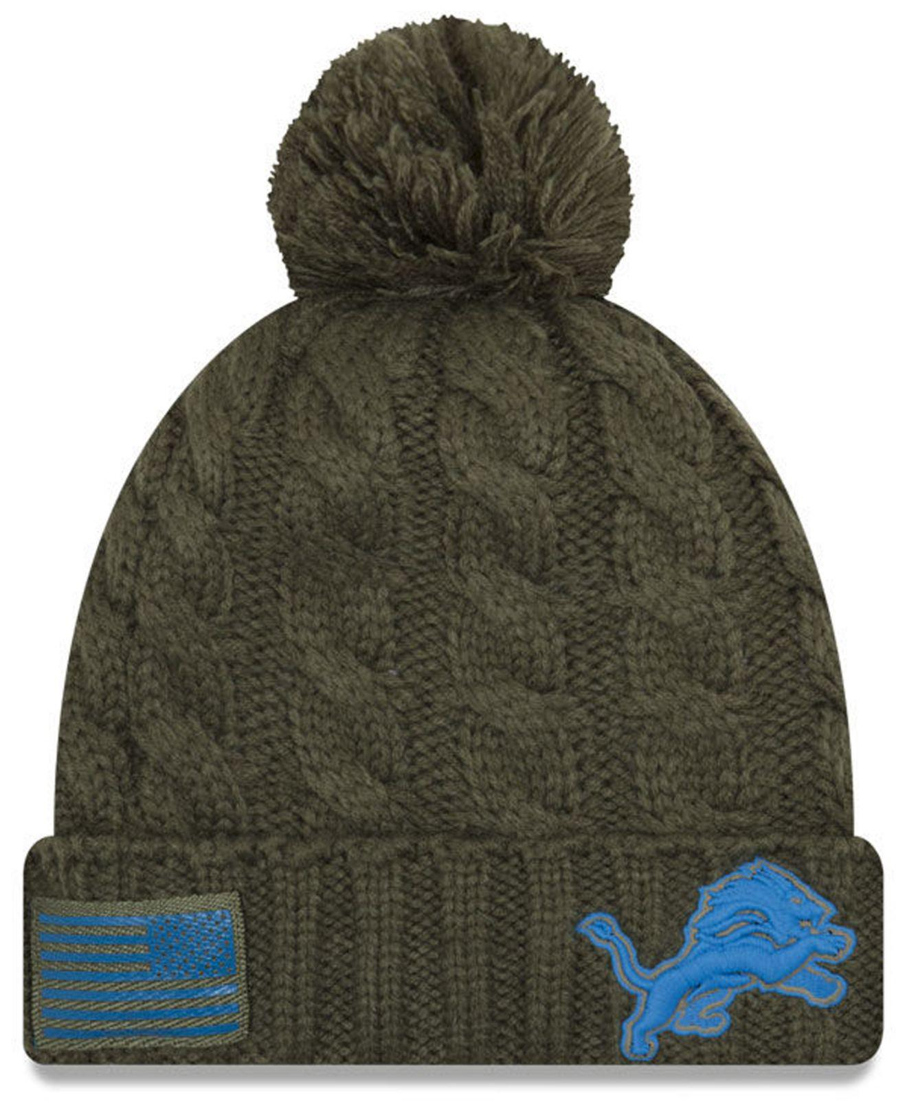 Lyst - Ktz Detroit Lions Salute To Service Pom Knit Hat in Green 9ed1c56d5