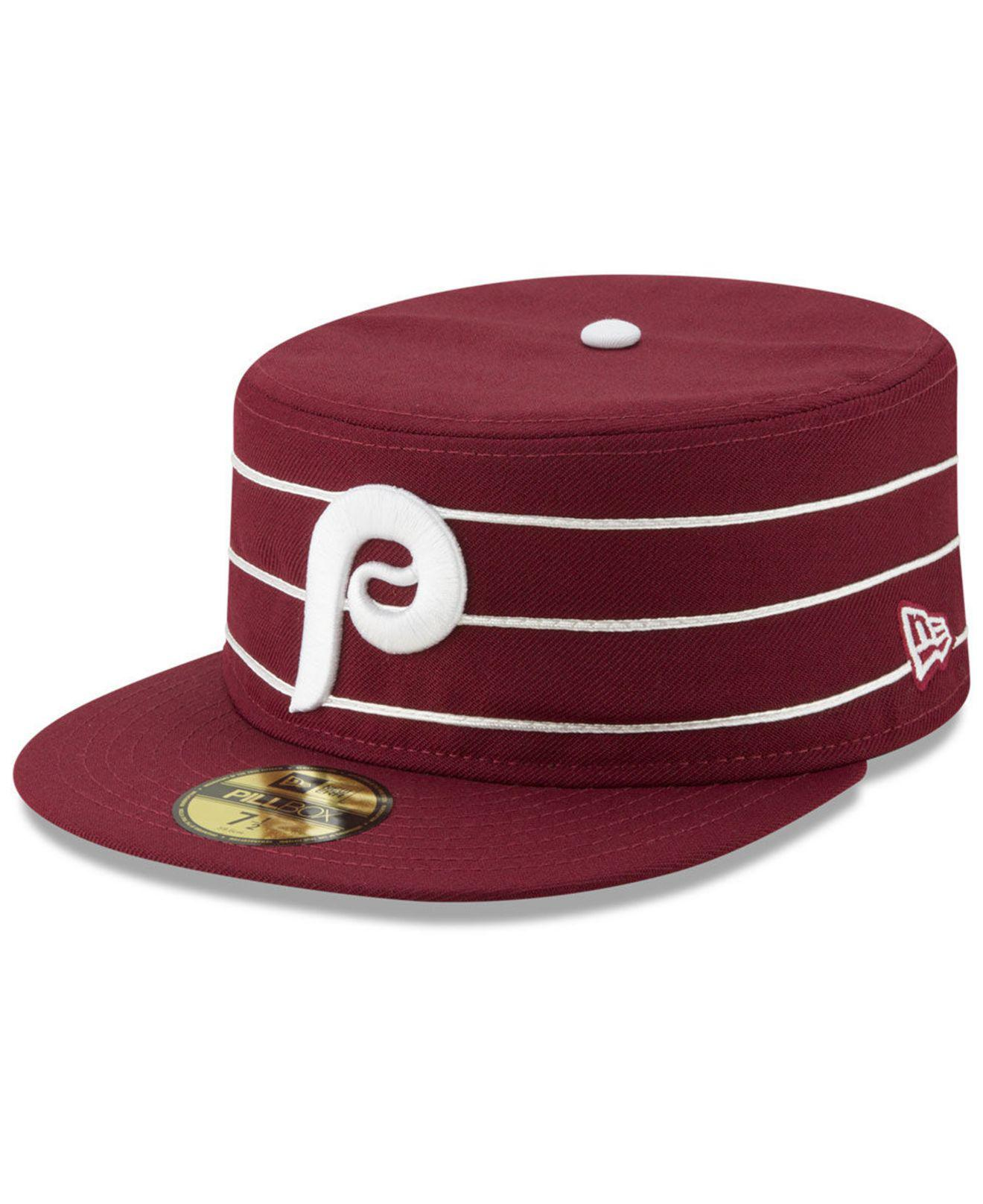 huge selection of 0d671 d3f14 ... coupon for ktz. mens red philadelphia phillies pillbox 59fifty fitted  cap b09fc 90d0c