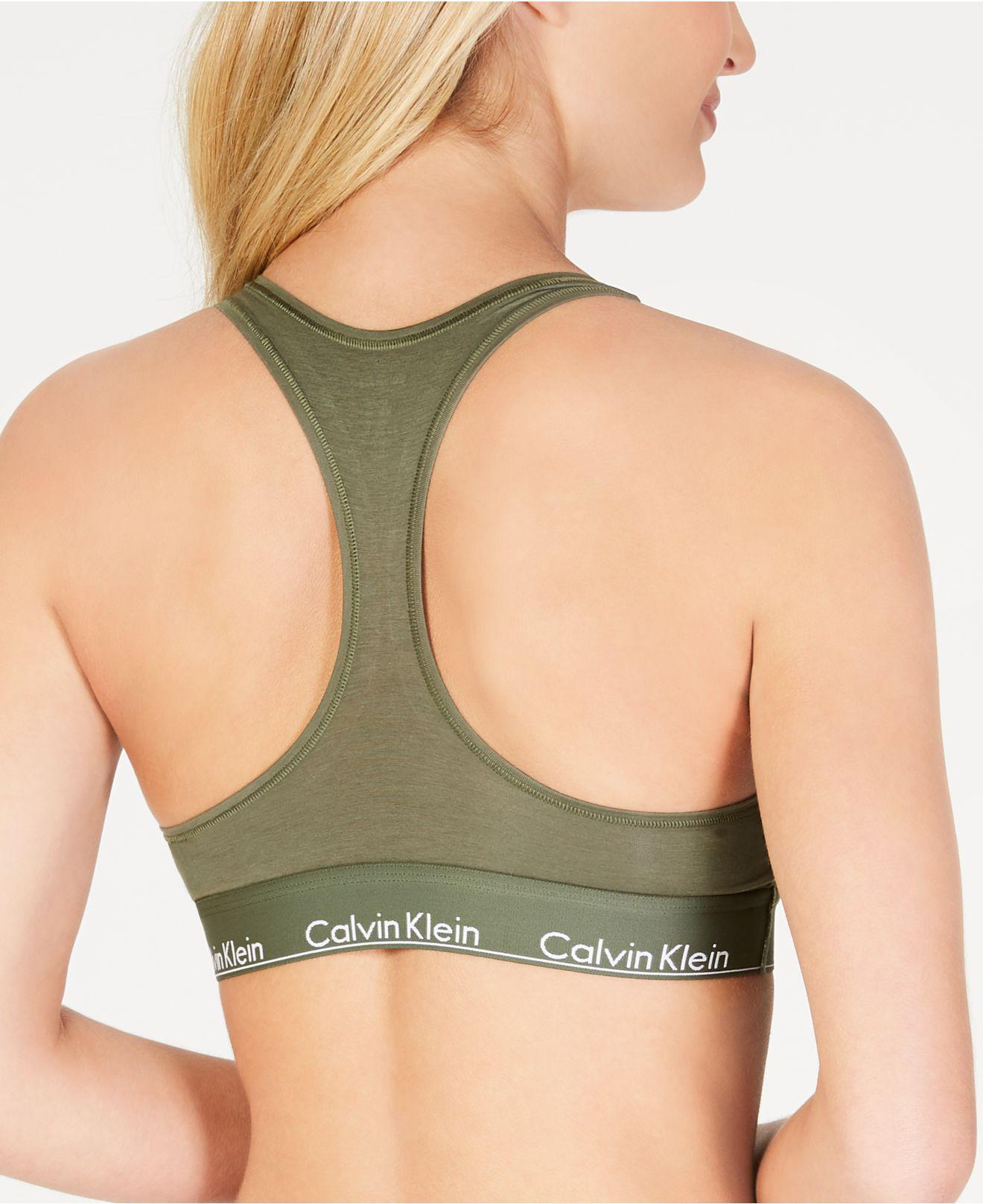 ad50aec363d22 Lyst - Calvin Klein Modern Cotton Unlined Bralette in Green - Save  53.57142857142857%