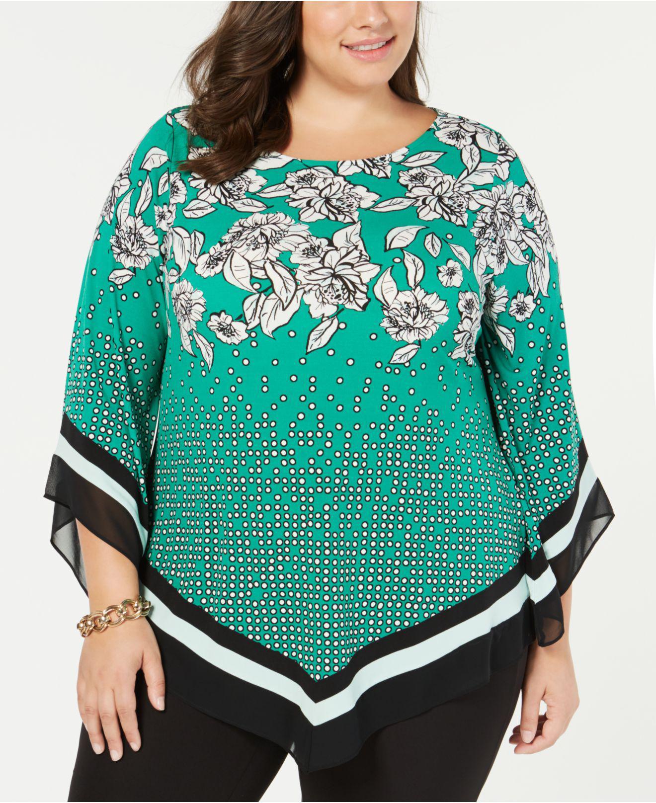 66c3152520d Alfani. Women s Green Plus Size Printed Pointed-hem Top ...
