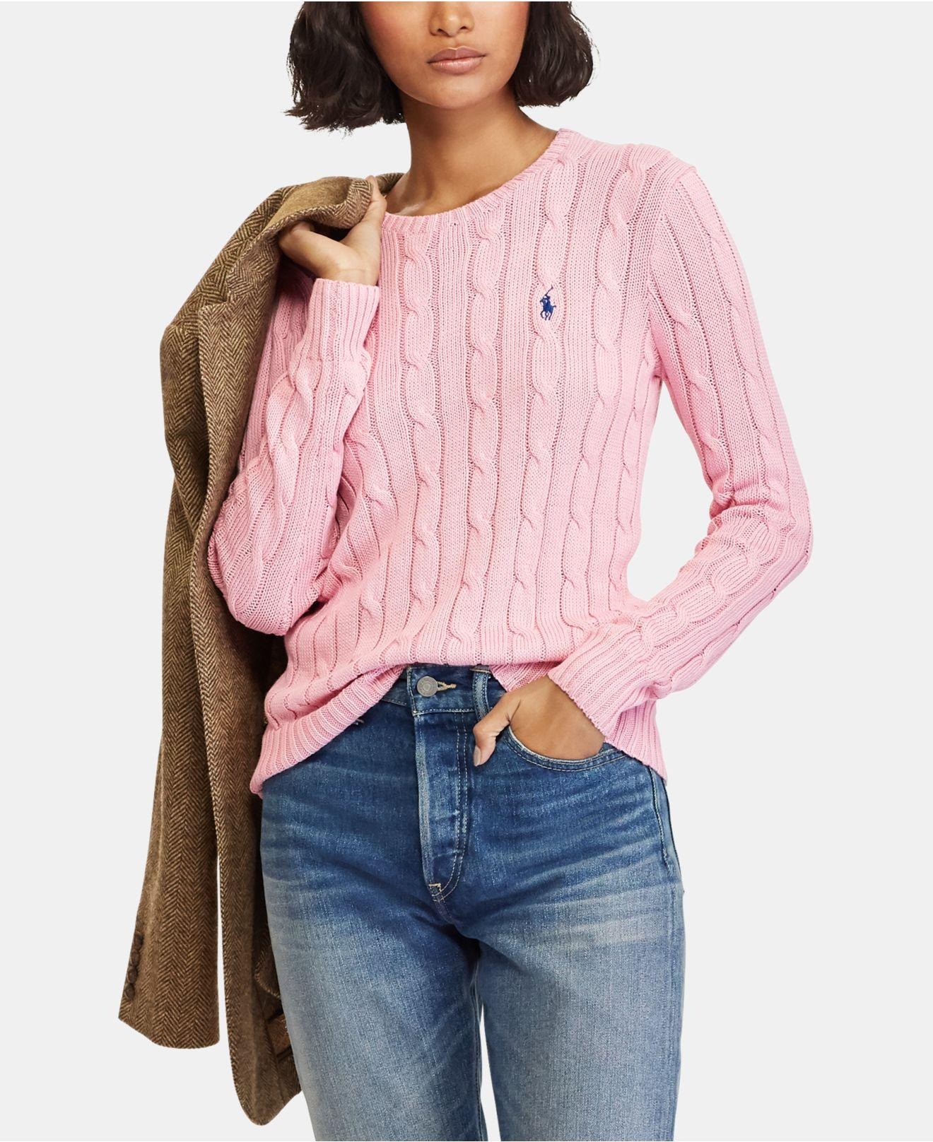 a37a670b6b1e Lyst - Polo Ralph Lauren Cable-knit Cotton Sweater in Pink - Save 40%