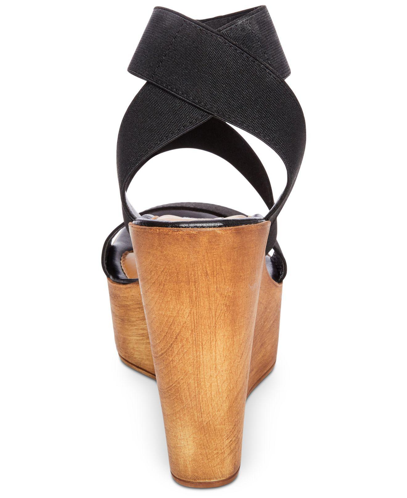 8fdde3bdbf61 Lyst - Steve Madden Blondy Platform Wedge Sandals in Black