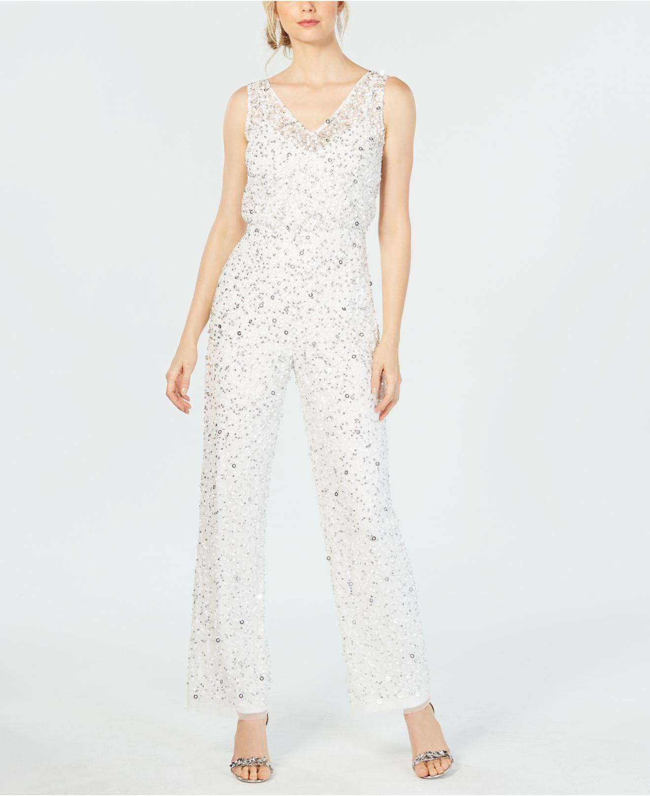 41e7339ba764 Lyst - Adrianna Papell Sequin-embellished Jumpsuit in White