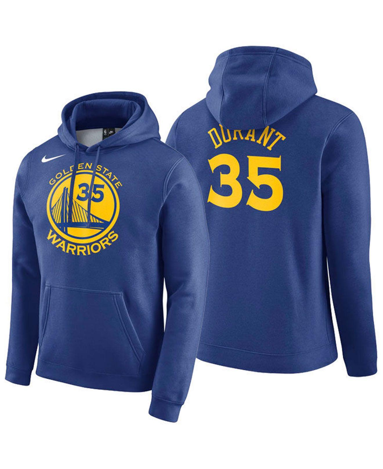 Nike Kevin Durant Golden State Warriors Icon Player Name & Number Essential Hoodie in Blue for ...