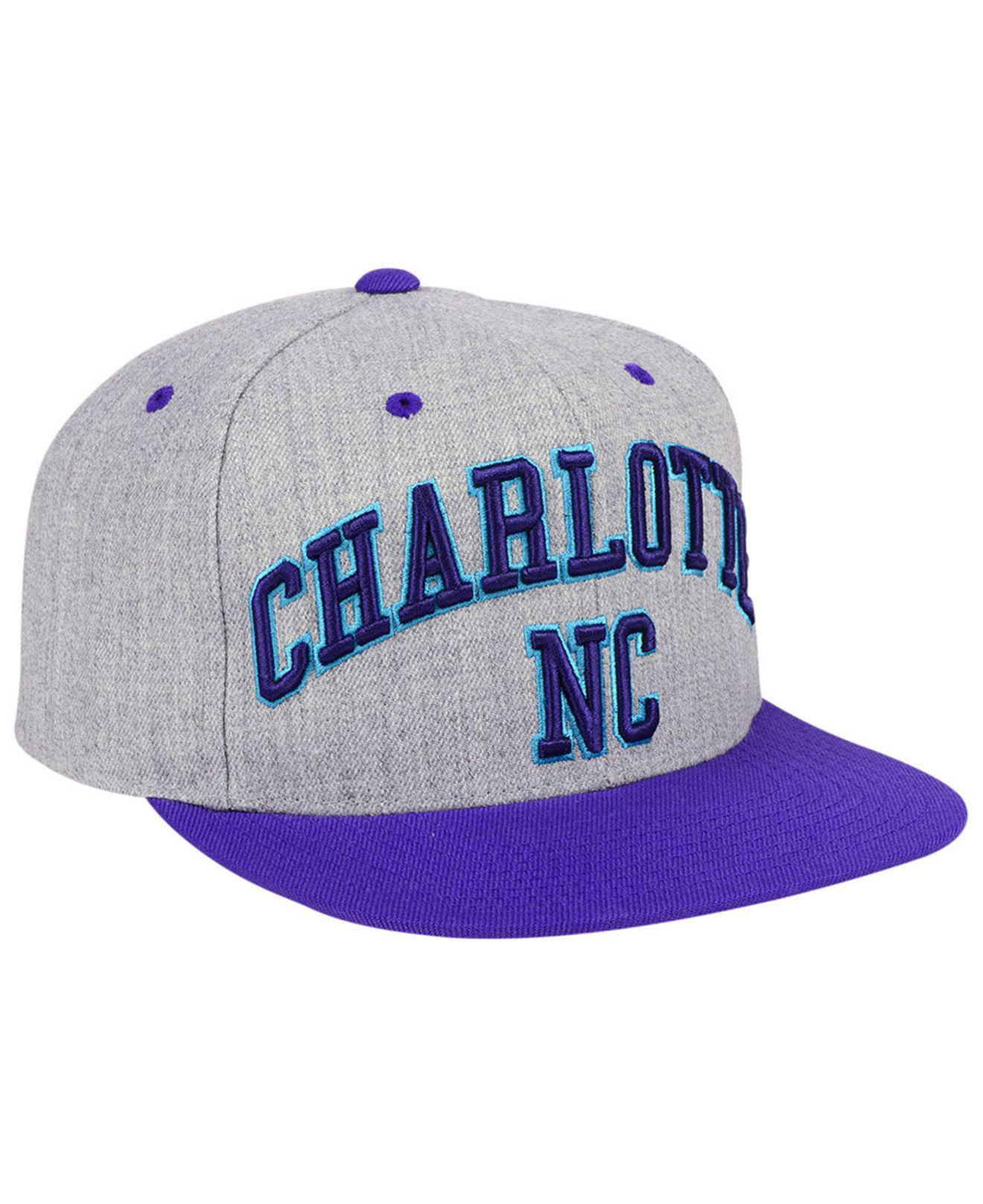 ... get mitchell ness purple charlotte hornets side panel cropped snapback  cap for men lyst. view 879c93d73ade