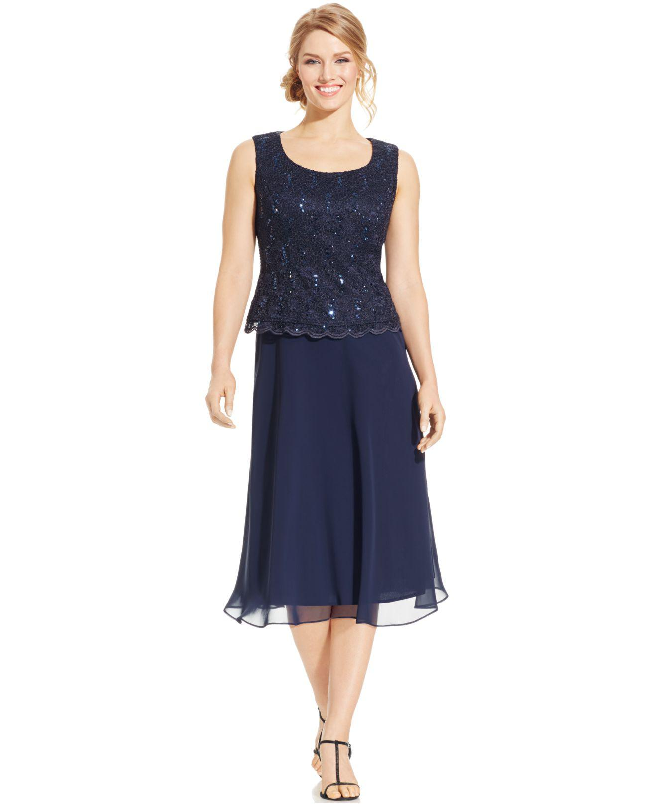 8a571a2e679 R   M Richards. Women s Blue R m Richards Sequined Lace Chiffon Dress And  Jacket