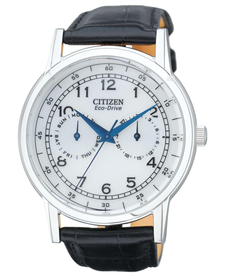citizen s eco drive black leather 42mm