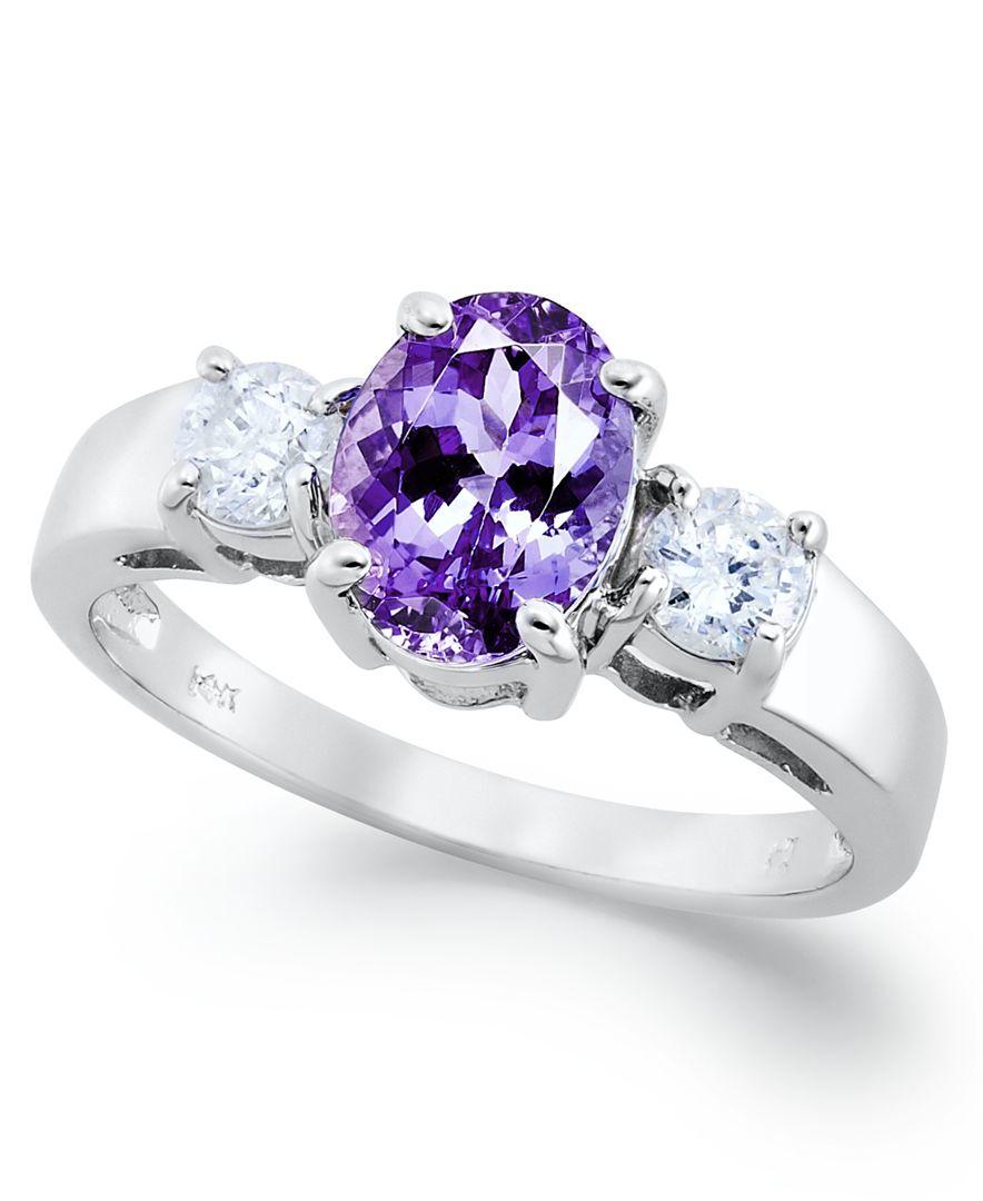 Macy s 14k White Gold Ring Tanzanite 1 3 8 Ct T w And Diamond 3 8 C