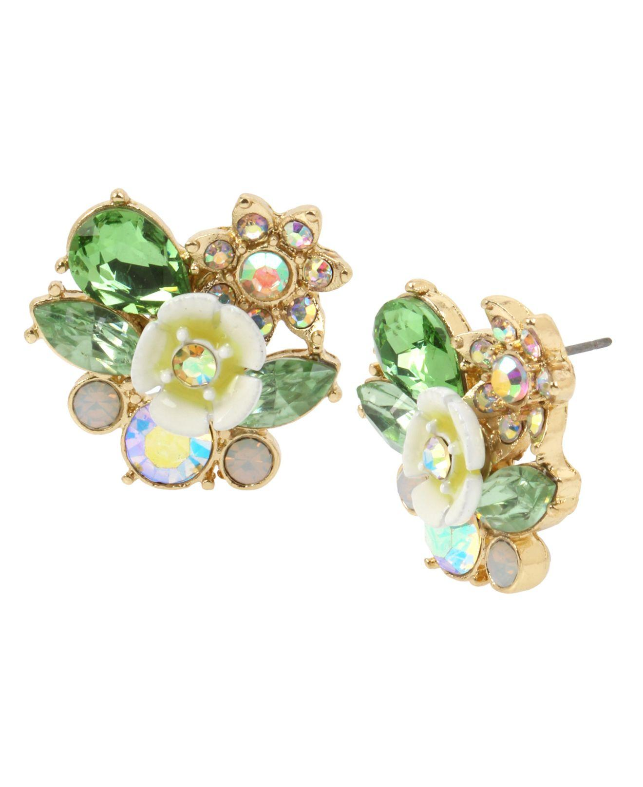 ebda8617a Lyst - Betsey Johnson Flower Cluster Stud Earrings in Yellow