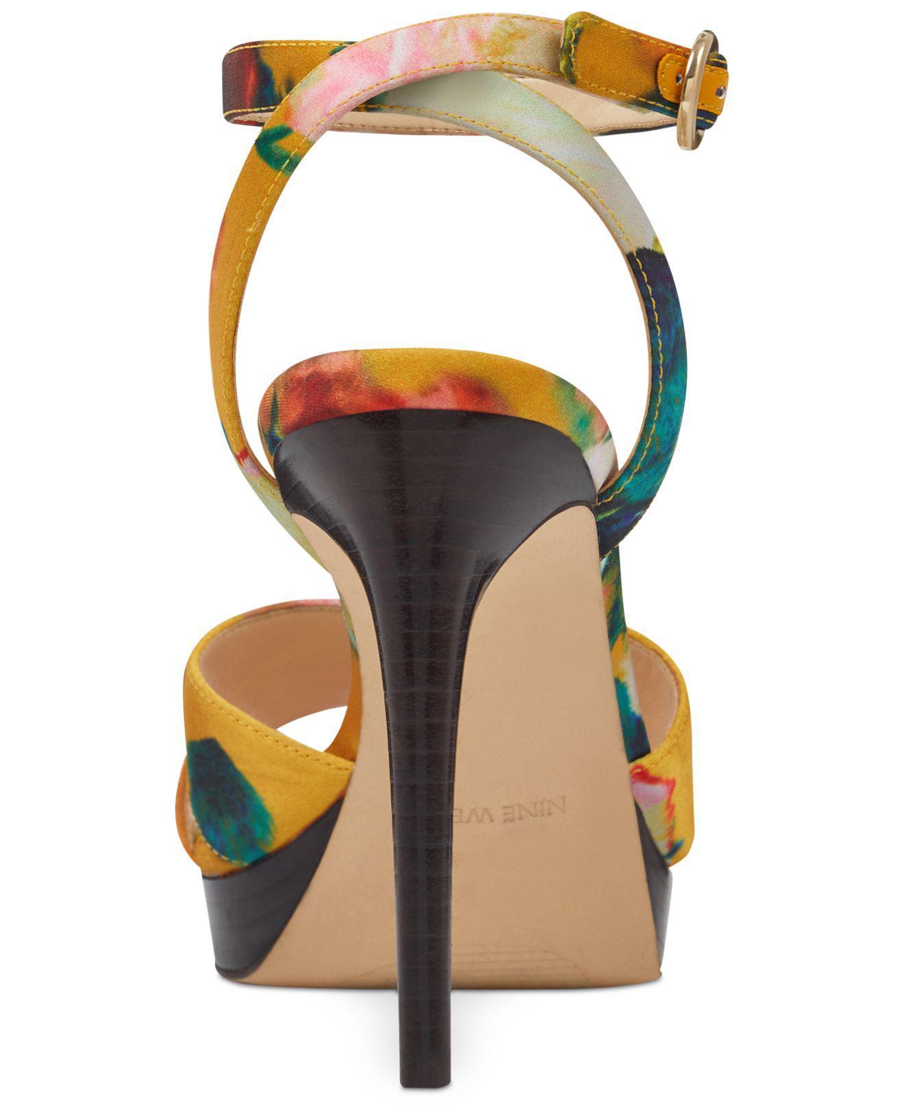 ced77361c6 Nine West Quisha Platform Sandals in Yellow - Lyst