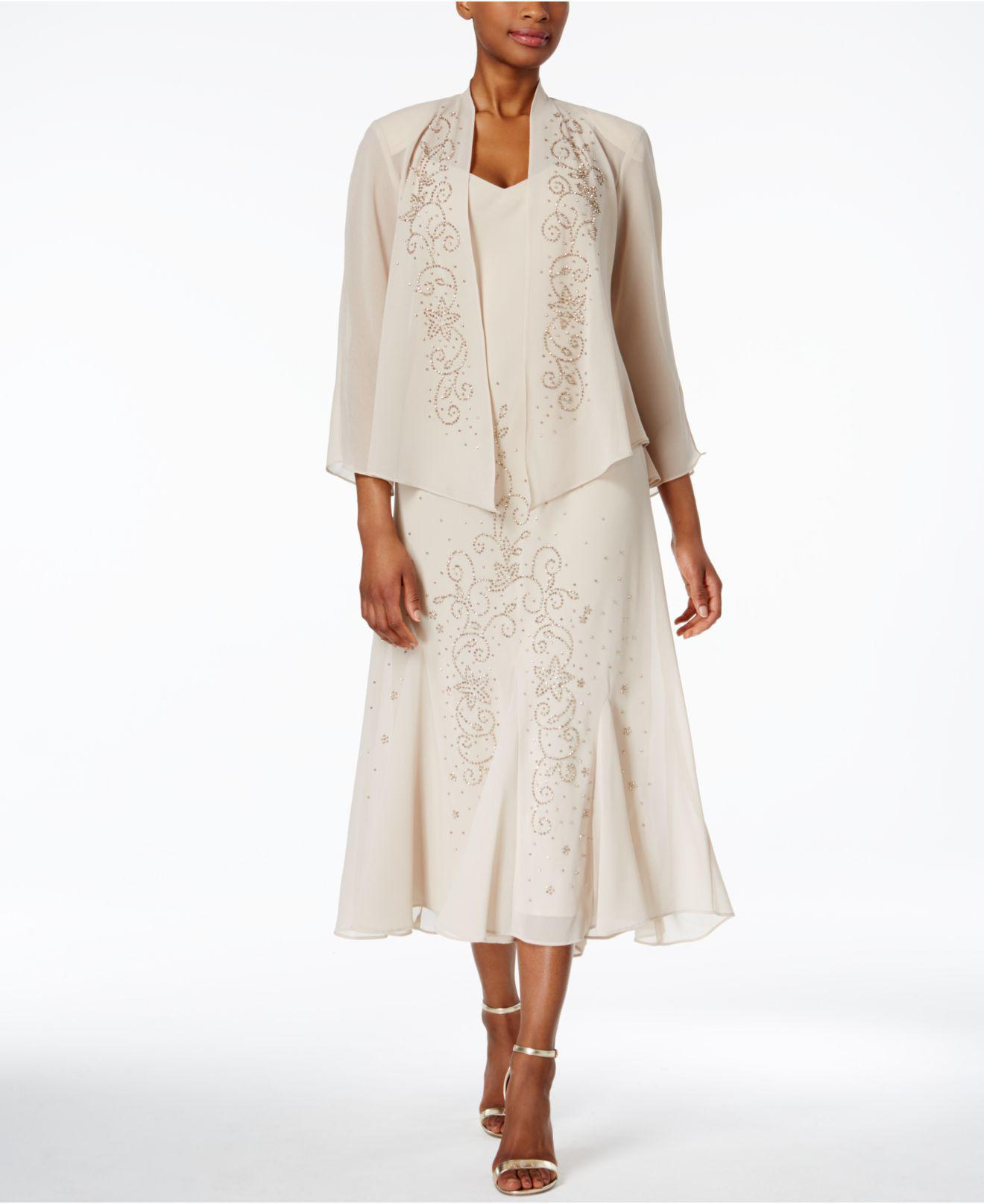 a47af711b2bffe R   M Richards. Women s Natural R m Richards Sleeveless Beaded V-neck Dress  And Jacket