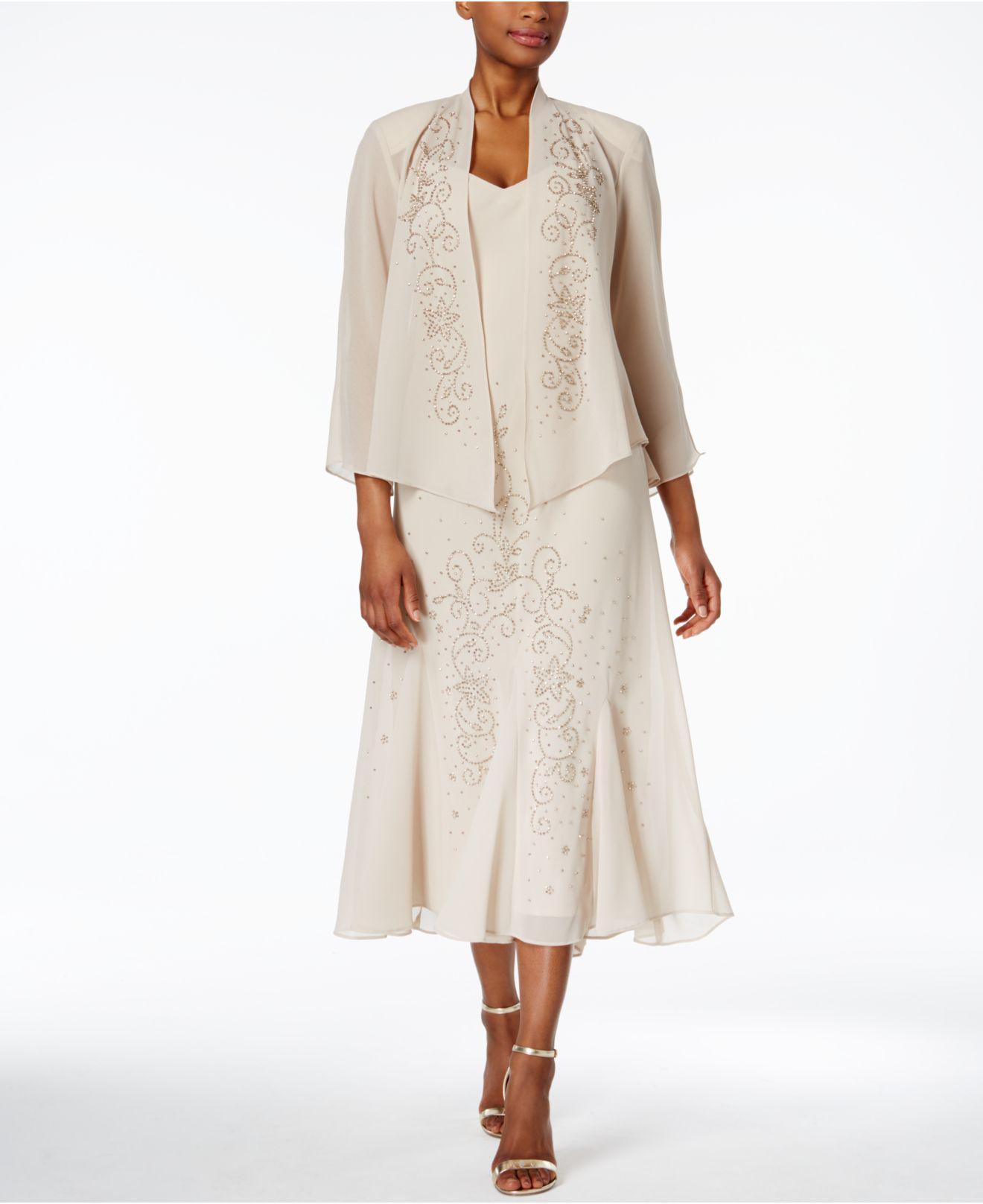 07939eb768575 R   M Richards. Women s Natural R m Richards Sleeveless Beaded V-neck Dress  And Jacket