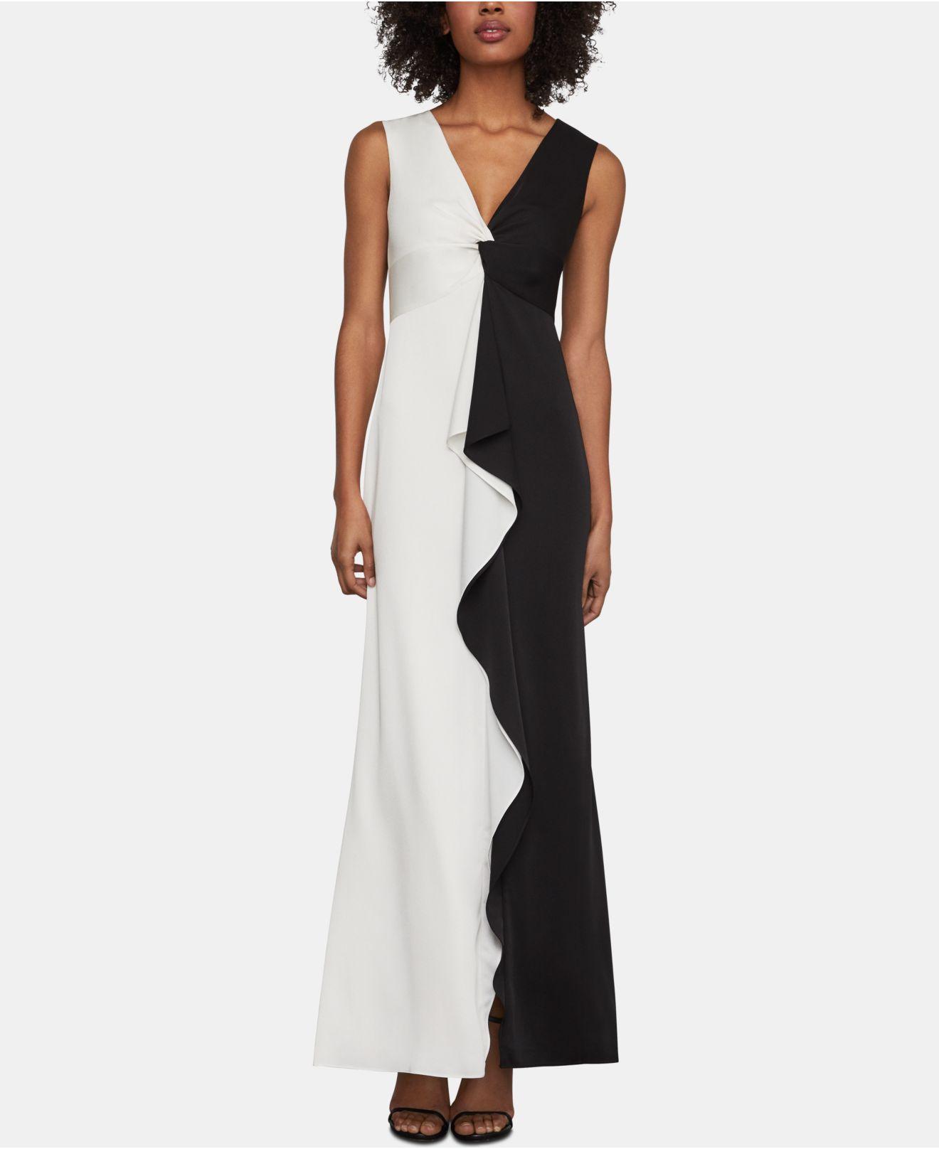 c4c976ffa4 Lyst - BCBGMAXAZRIA Colorblock Twist Front Ruffle Gown in Black
