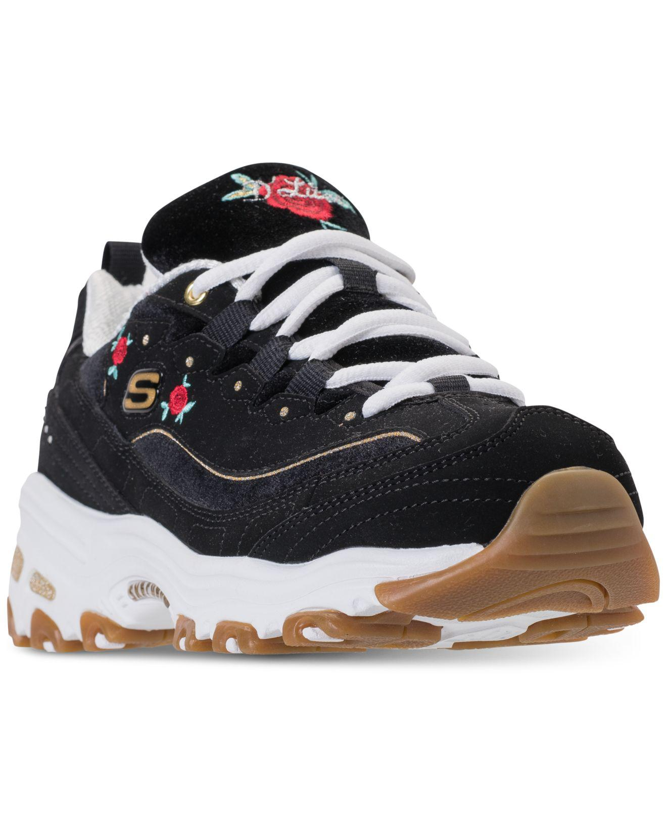 f211dc36a271 Lyst - Skechers D lite - Rose Blooms (black white) Women s Lace Up ...