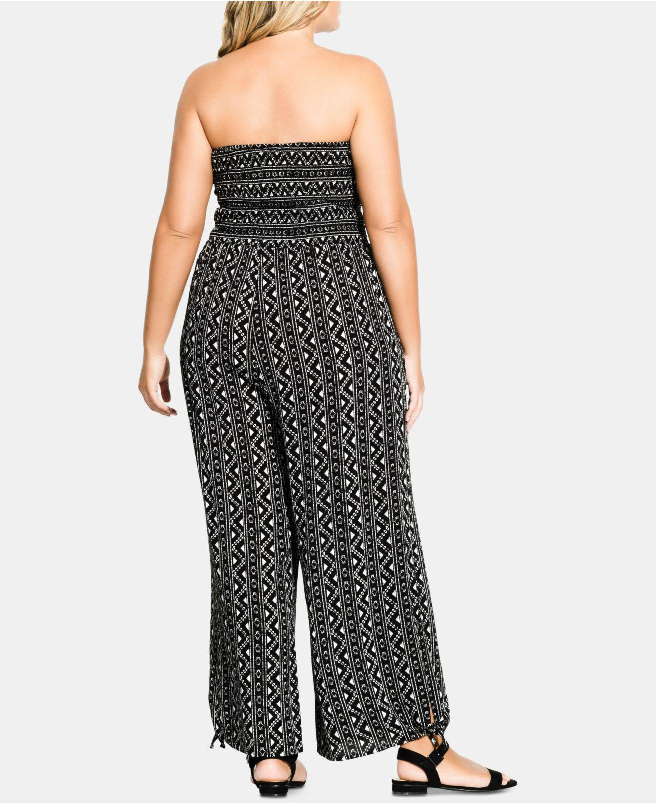 79320a7c5d4 Lyst - City Chic Trendy Plus Size Printed Strapless Jumpsuit in Black